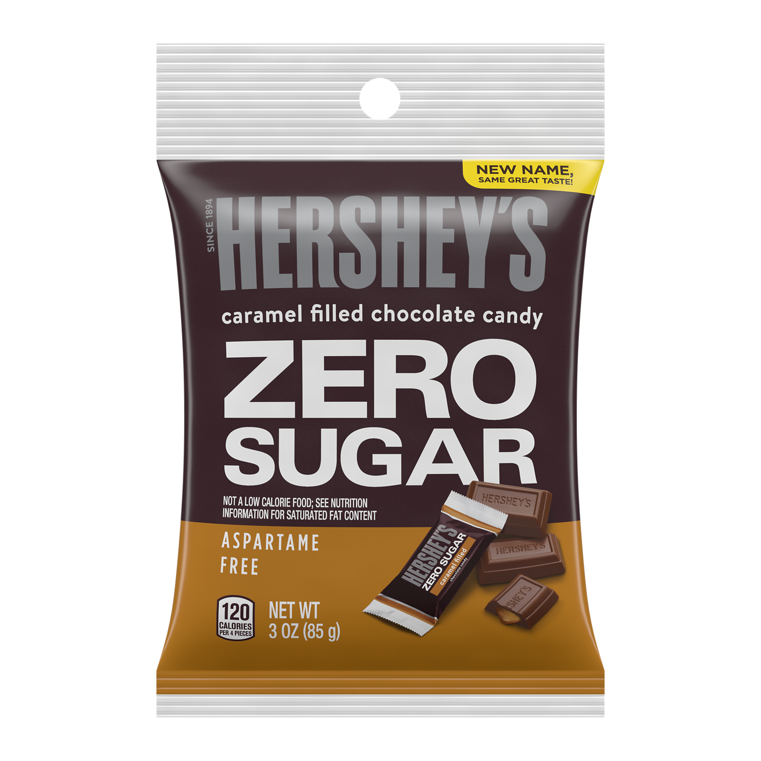 HERSHEY'S Zero Sugar Caramel Filled Chocolate Candy, 3 oz bag - Front of Package