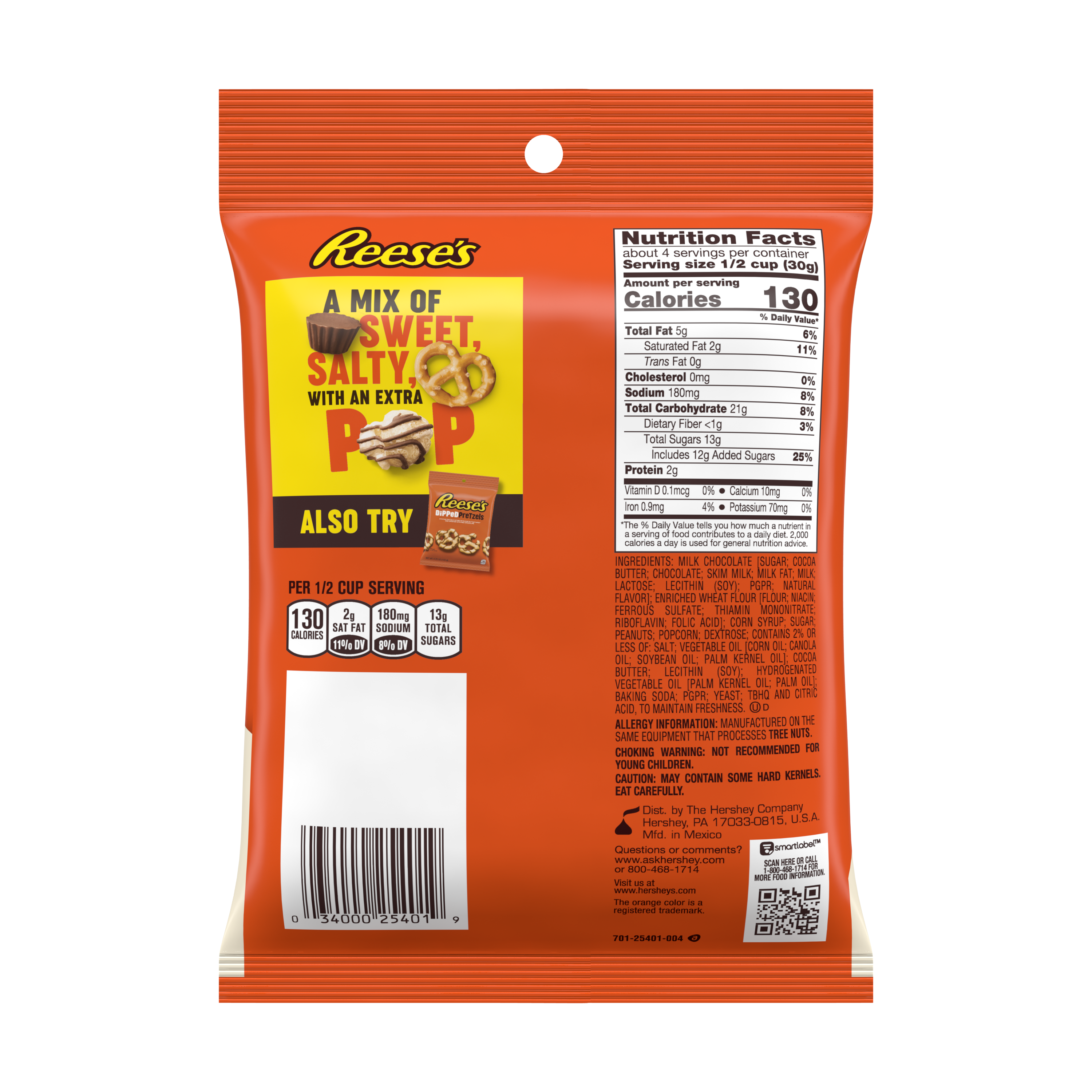 REESE'S Popped Milk Chocolate Peanut Butter Snack Mix, 4 oz bag - Back of Package