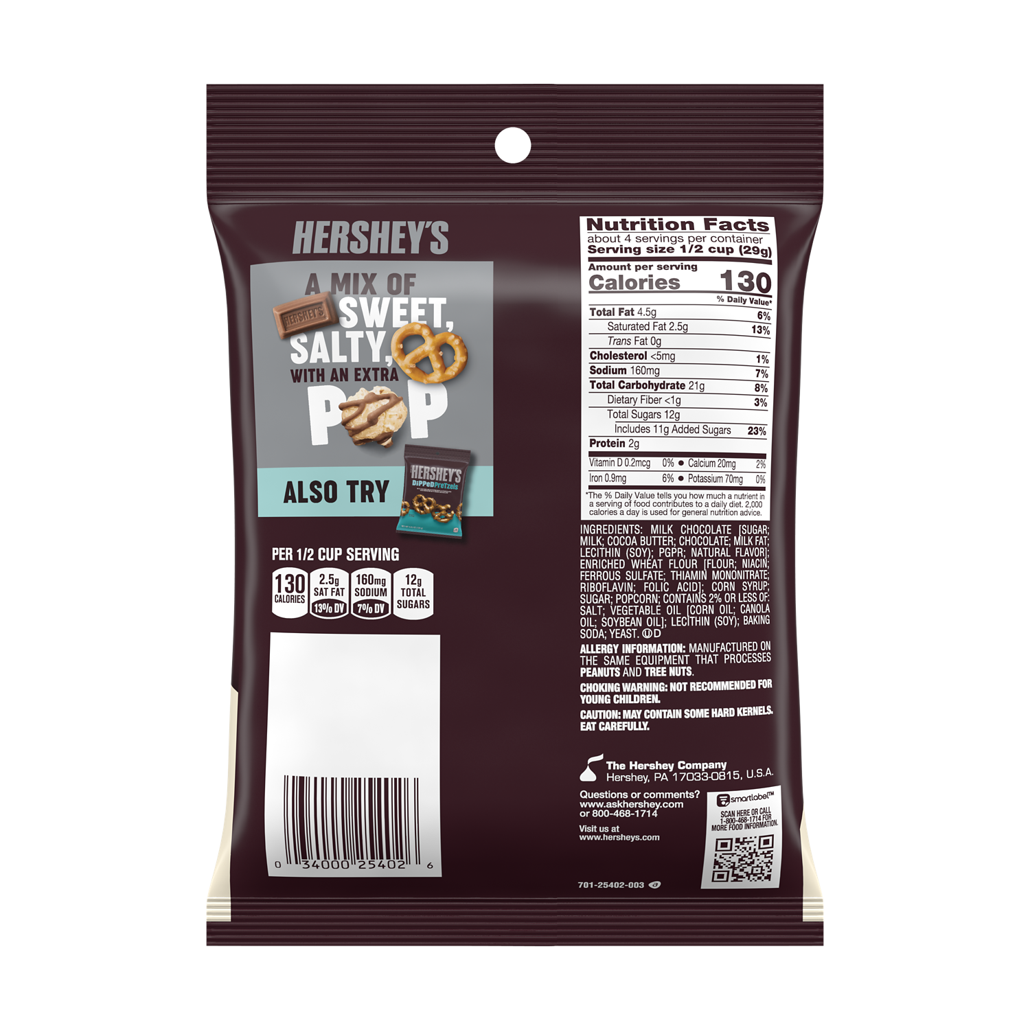 HERSHEY'S Popped Milk Chocolate Snack Mix, 4 oz bag - Back of Package