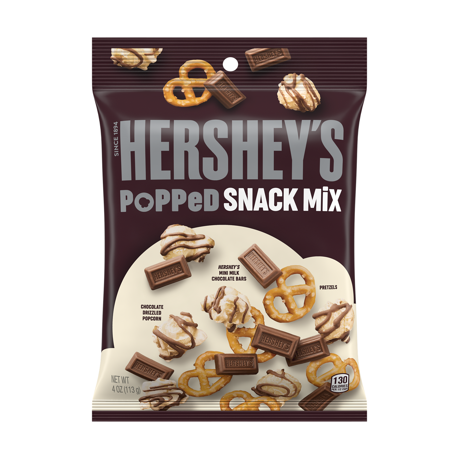 HERSHEY'S Popped Milk Chocolate Snack Mix, 4 oz bag - Front of Package