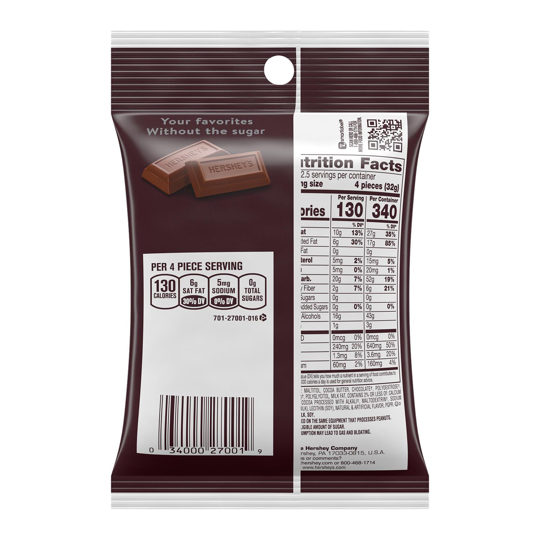 HERSHEY'S Zero Sugar Chocolate Candy Bars, 3 oz bag - Back of Package