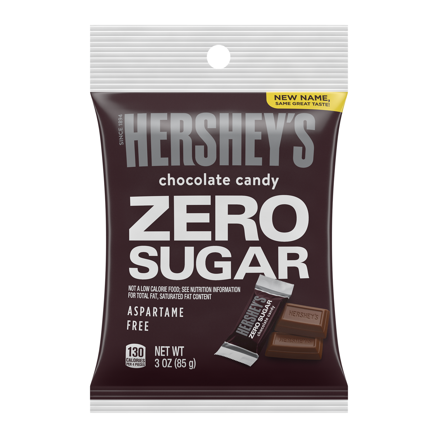 HERSHEY'S Zero Sugar Chocolate Candy Bars, 3 oz bag - Front of Package