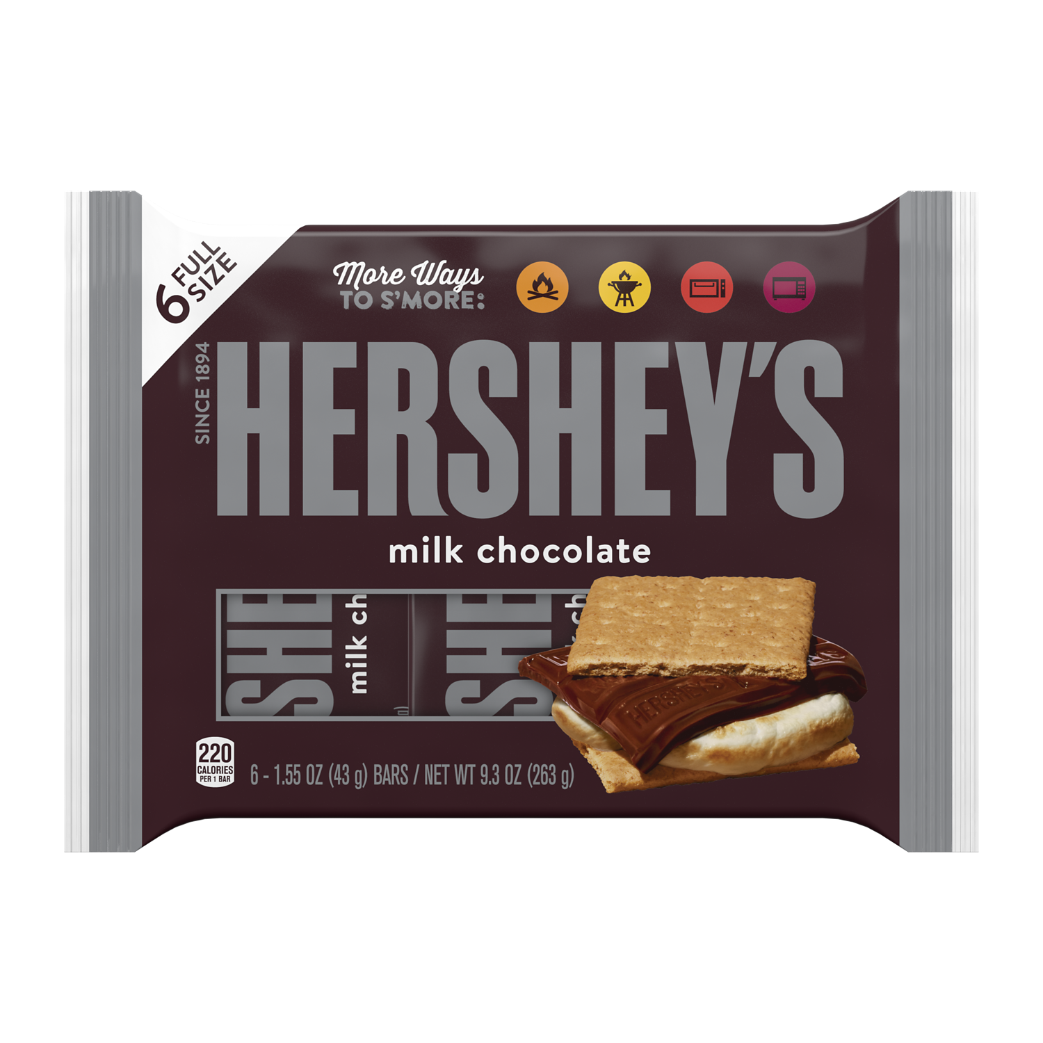 HERSHEY'S Milk Chocolate Candy Bars, 9.3 oz, 6 pack - Front of Package