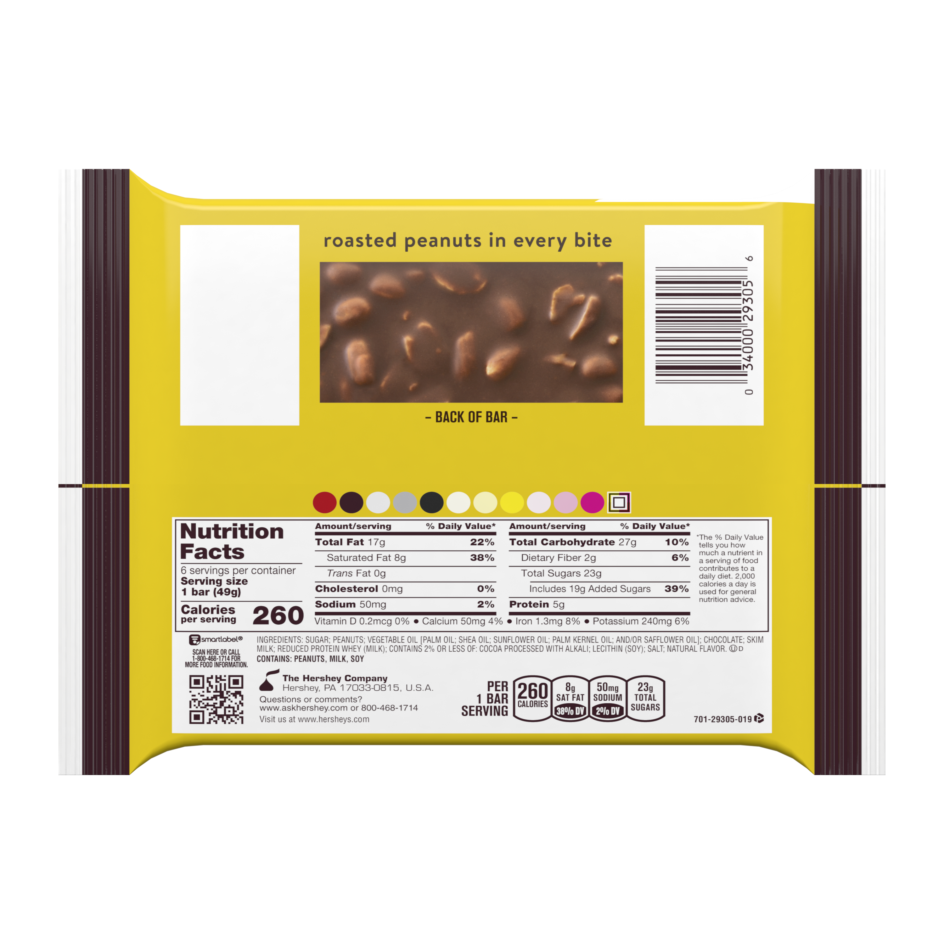 HERSHEY'S MR. GOODBAR Milk Chocolate with Peanuts Candy Bars, 1.75 oz, 6 pack - Back of Package