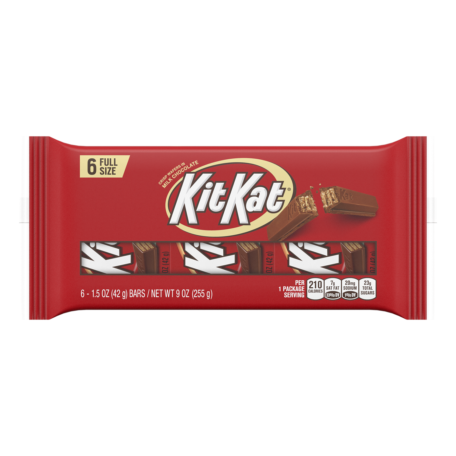 KIT KAT® Milk Chocolate Candy Bars, 1.5 oz, 6 pack - Front of Package