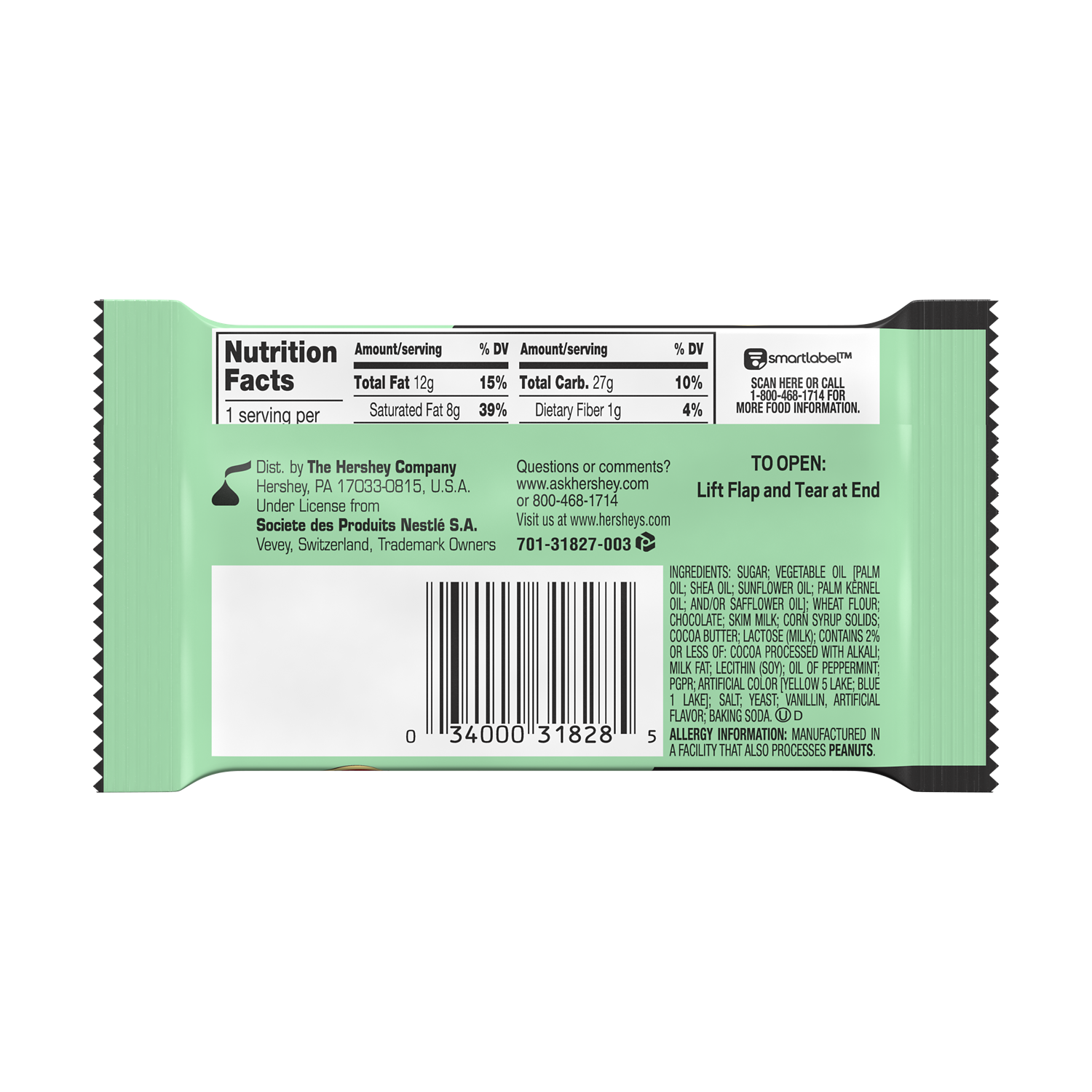 KIT KAT® DUOS Mint and Dark Chocolate Candy Bar, 1.5 oz - Back of Package