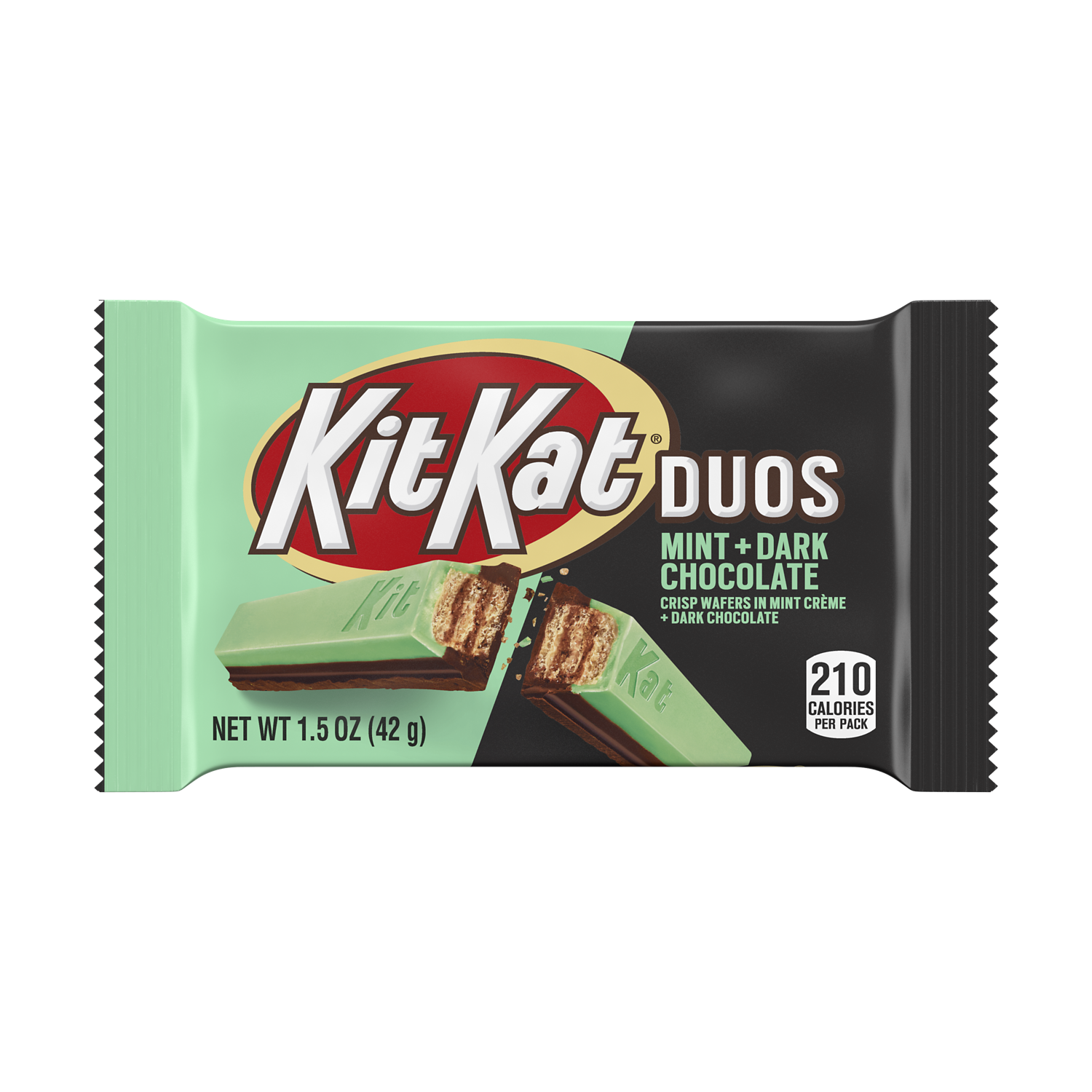 KIT KAT® DUOS Mint and Dark Chocolate Candy Bar, 1.5 oz - Front of Package