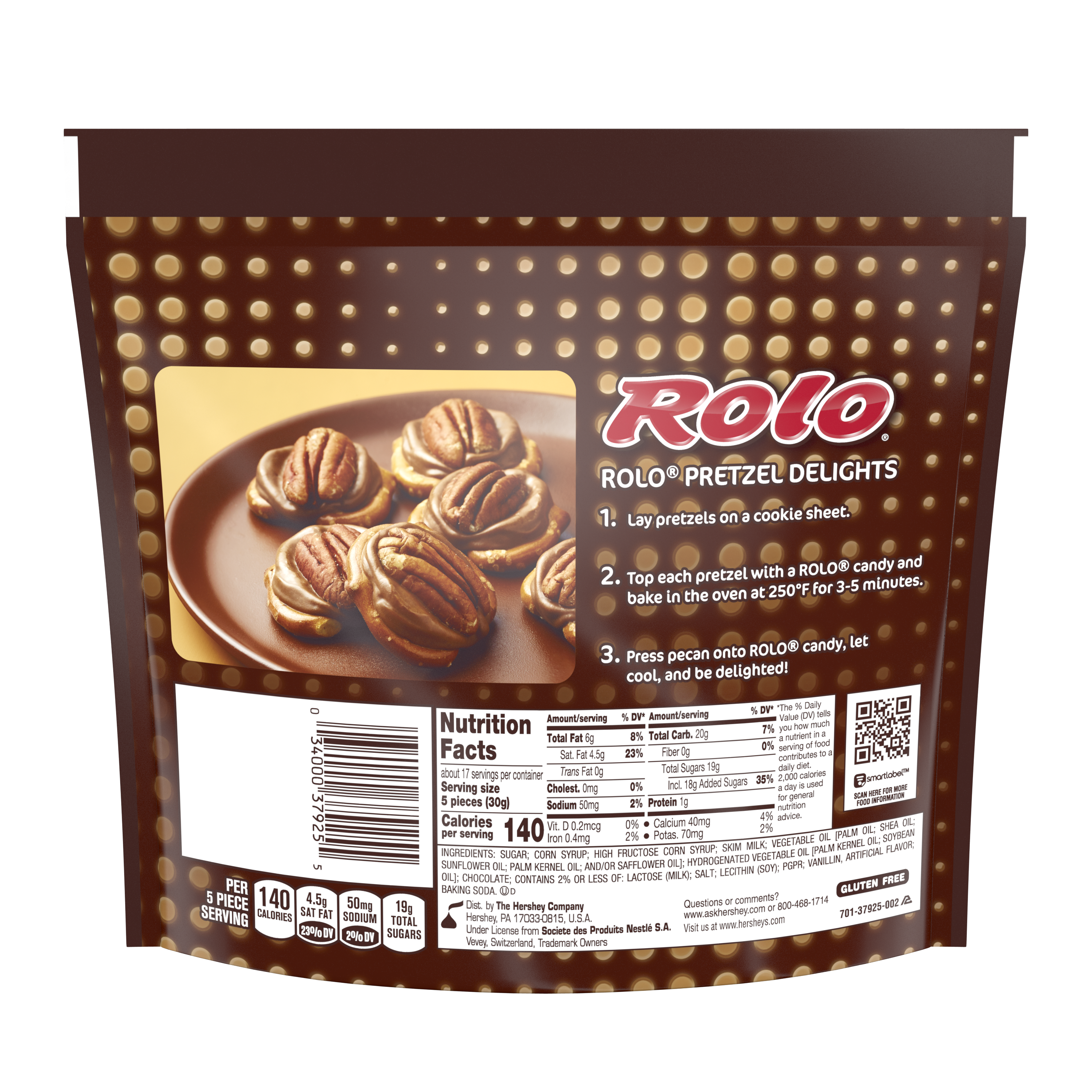ROLO® Creamy Caramels in Rich Chocolate Candy, 17.8 oz bag - Back of Package