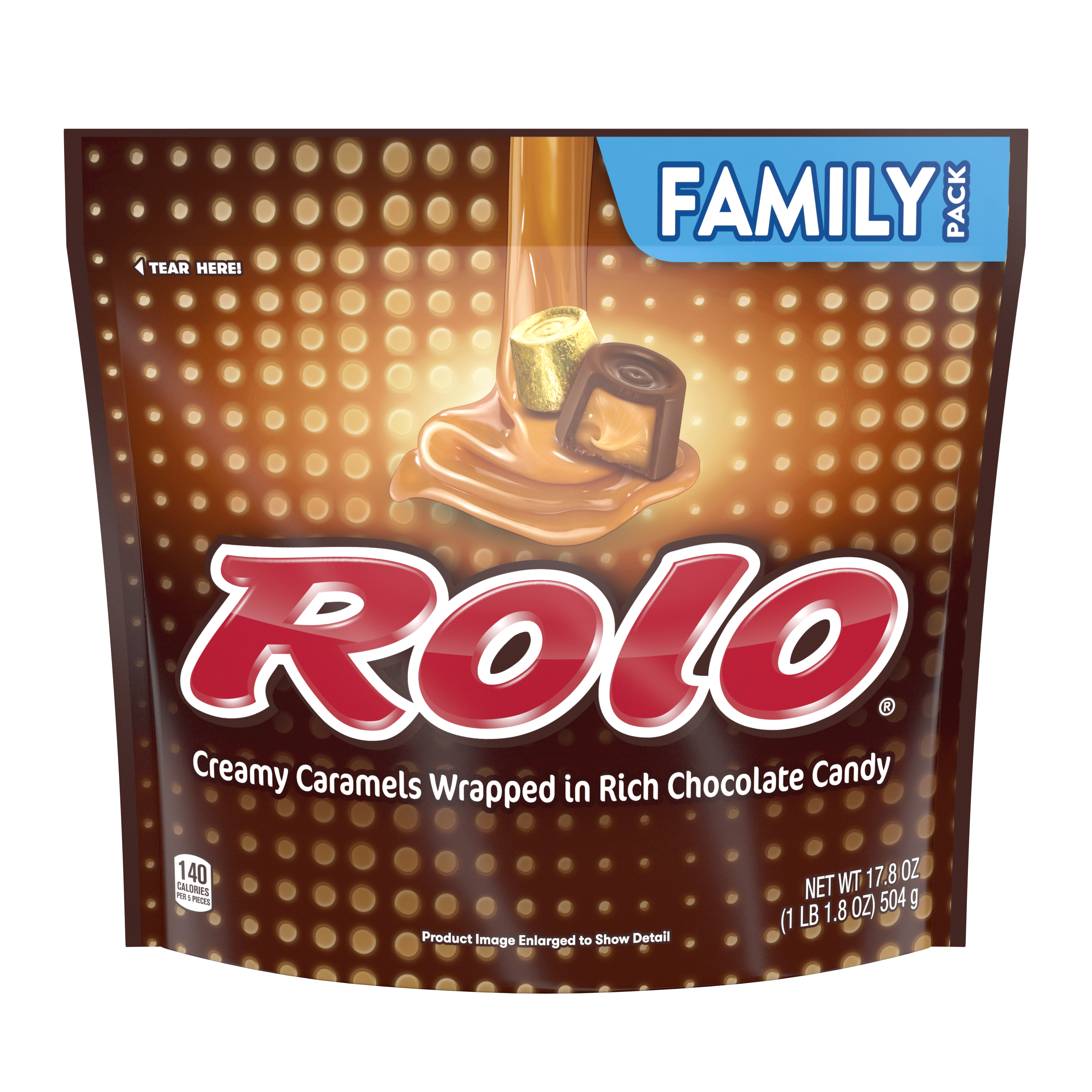 ROLO® Creamy Caramels in Rich Chocolate Candy, 17.8 oz bag - Front of Package