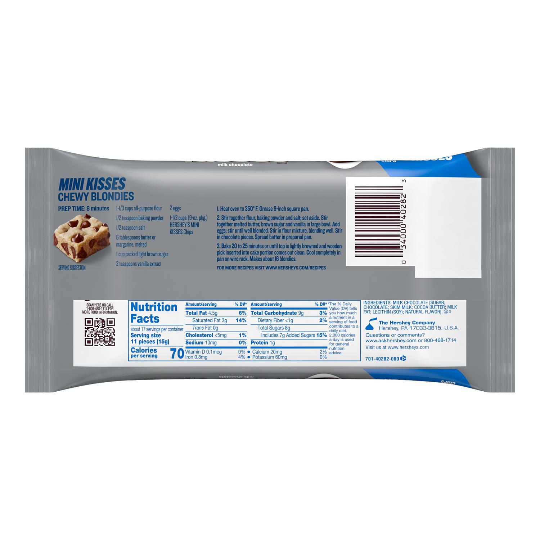 HERSHEY'S MINI KISSES Milk Chocolate Chips, 9 oz bag - Back of Package