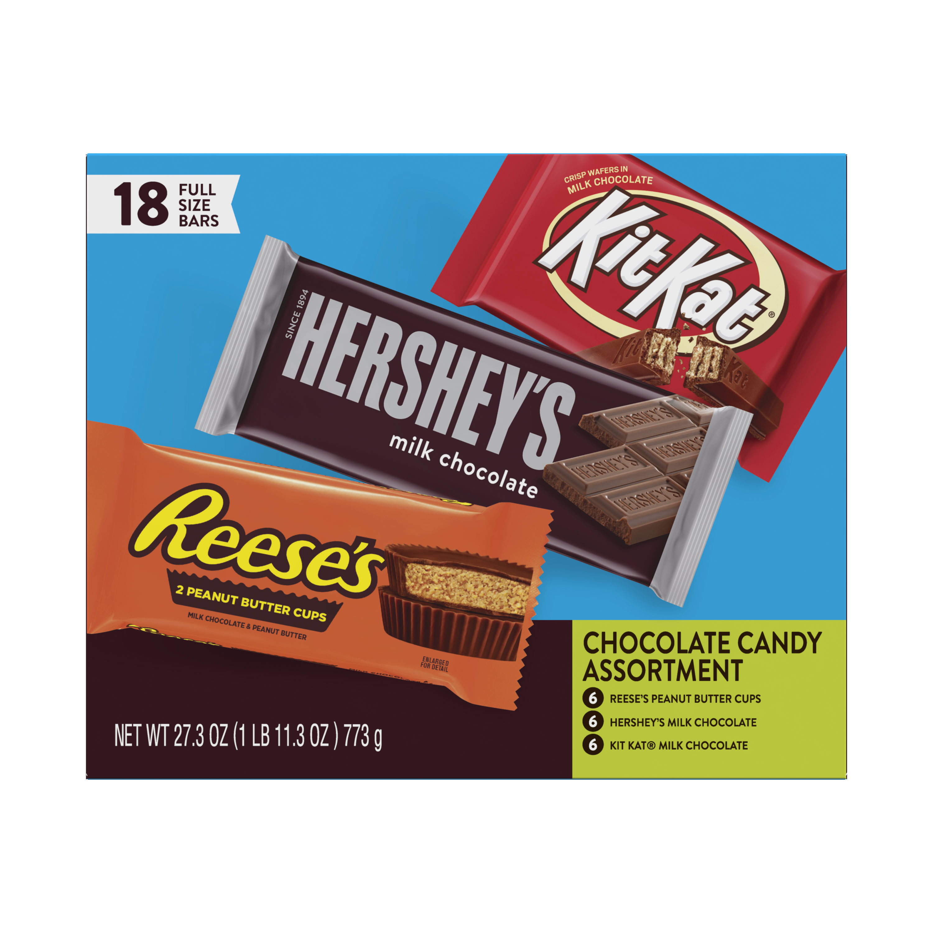 Hershey Variety Pack Chocolate Candy Bar Assortment, 27.3 oz box, 18 bars - Front of Package