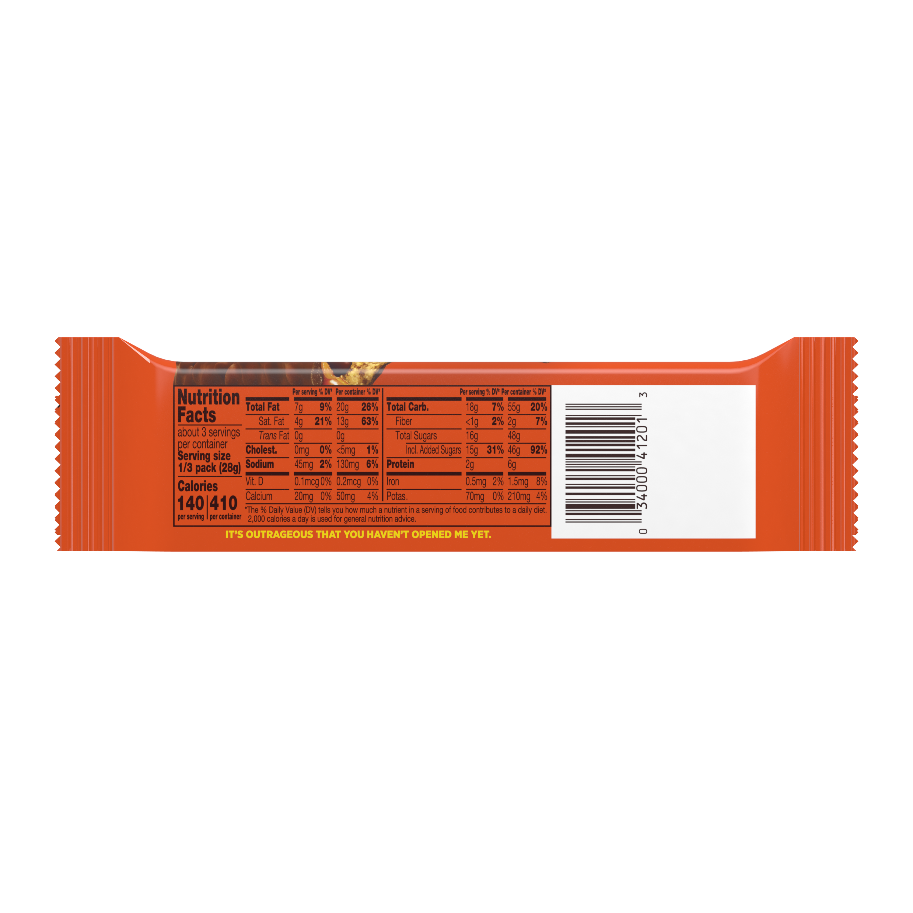 REESE'S OUTRAGEOUS! Milk Chocolate Peanut Butter King Size Candy Bar, 2.95 oz - Back of Package
