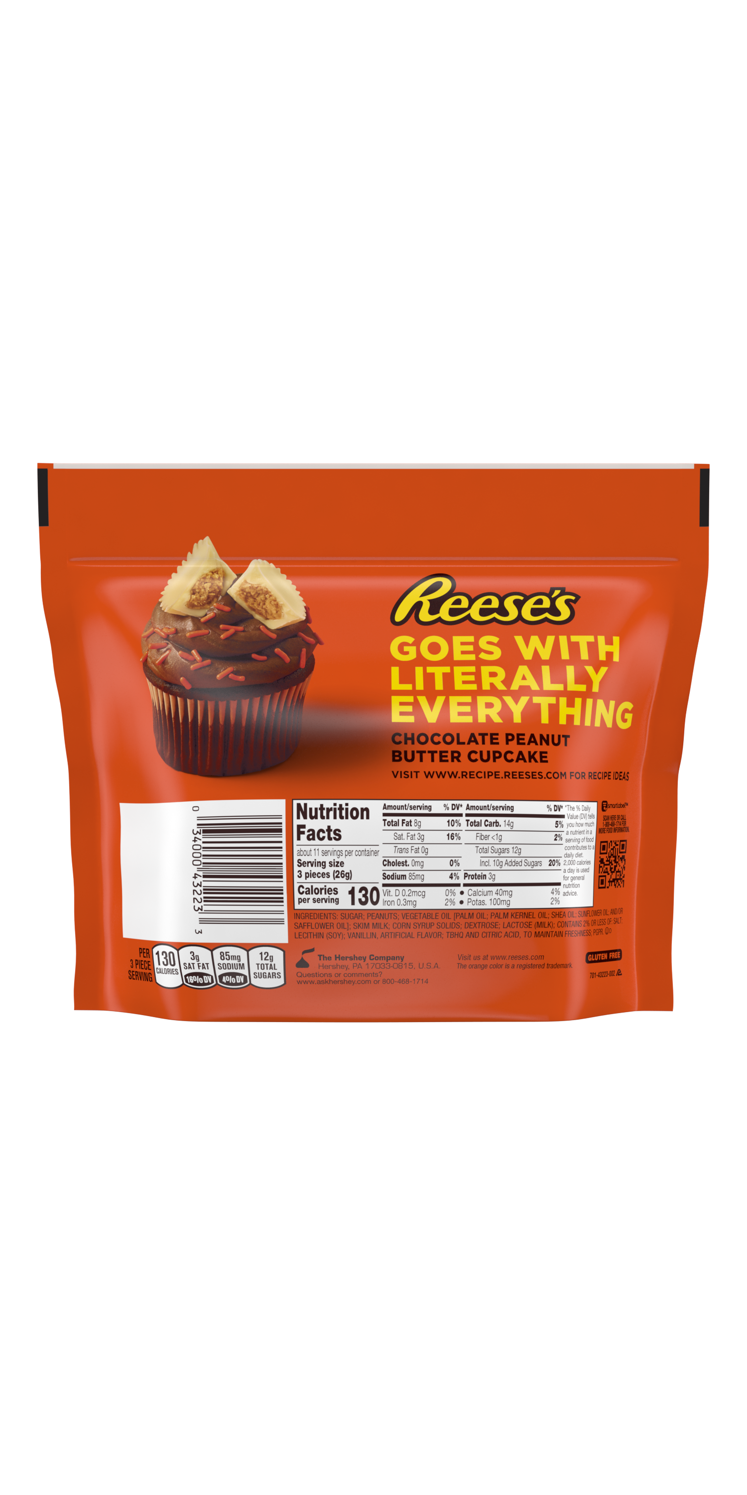 REESE'S Miniatures White Creme Peanut Butter Cups, 10.5 oz bag - Back of Package
