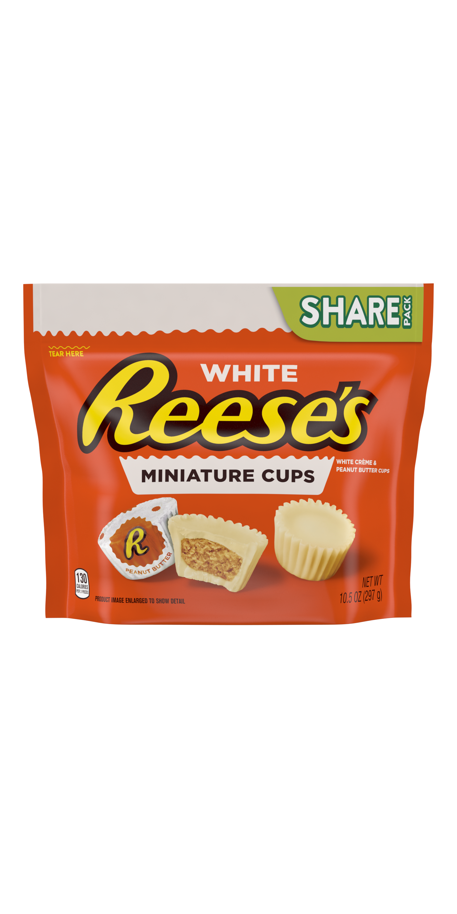 REESE'S Miniatures White Creme Peanut Butter Cups, 10.5 oz bag - Front of Package