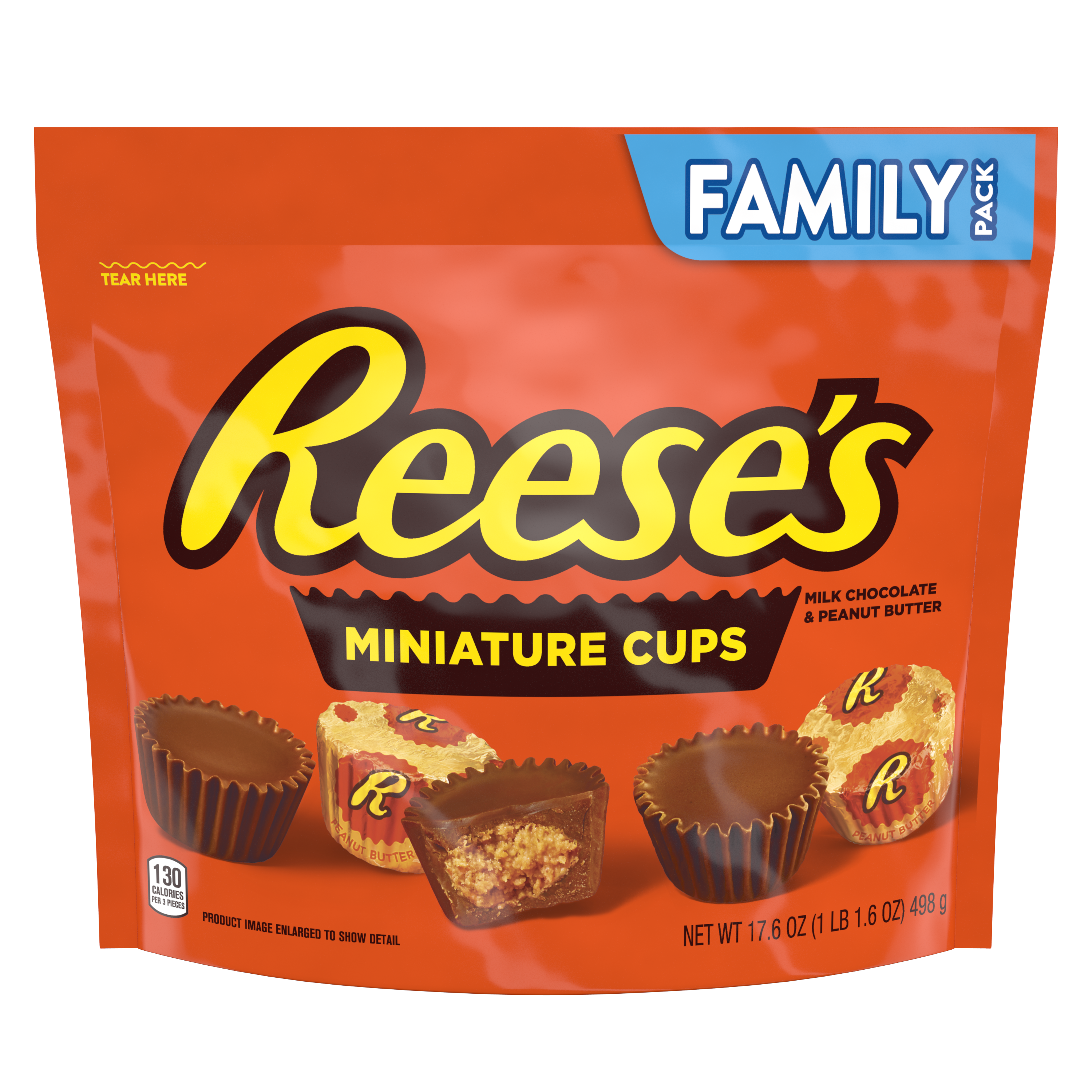 REESE'S Miniatures Milk Chocolate Peanut Butter Cups, 17.6 oz bag - Front of Package