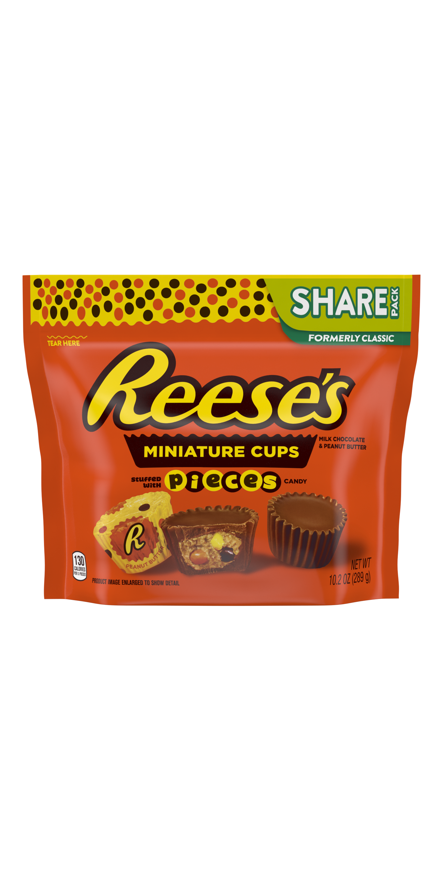 REESE'S STUFFED WITH PIECES Miniatures Milk Chocolate Peanut Butter Cups, 10.2 oz bag - Front of Package