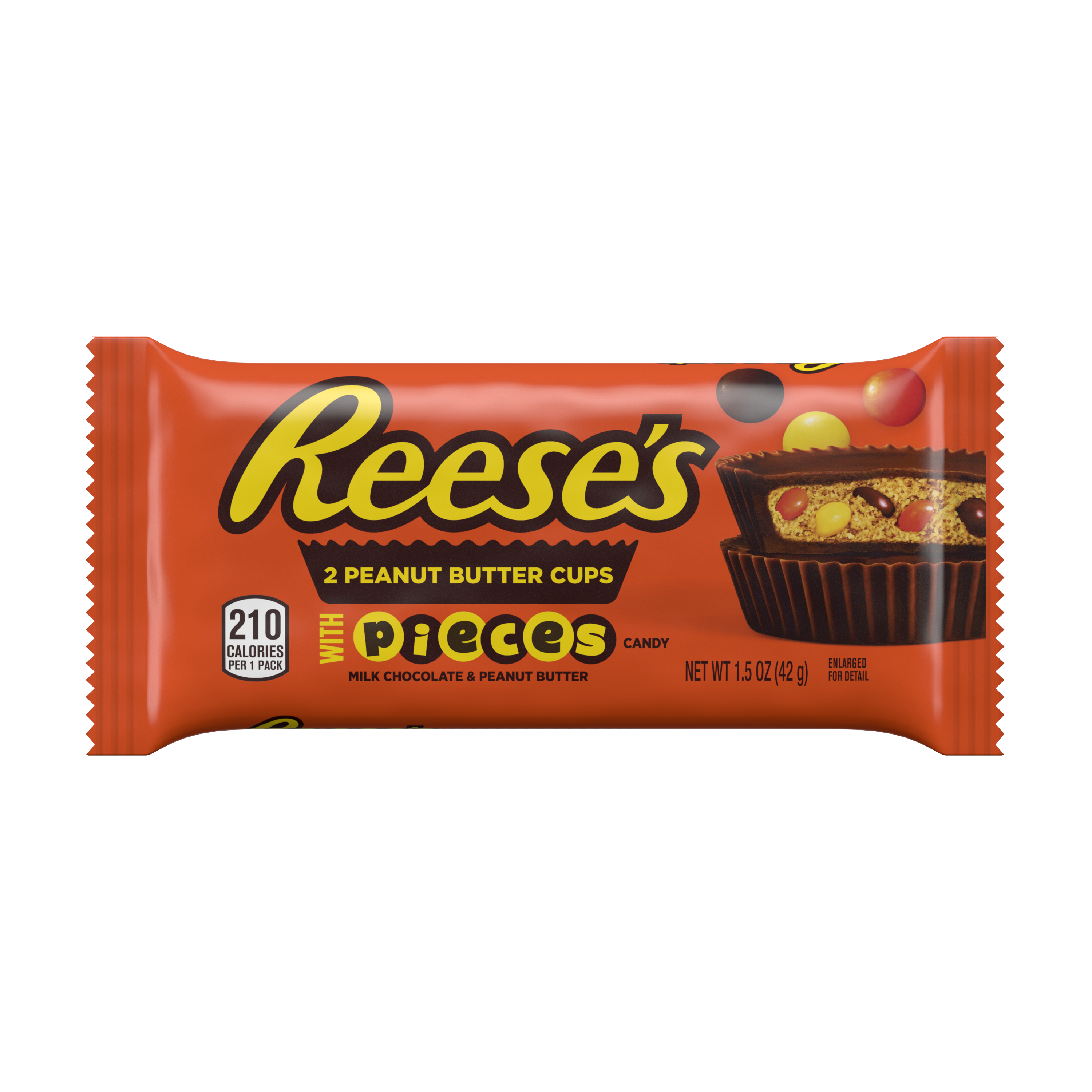 REESE'S STUFFED WITH PIECES Milk Chocolate Peanut Butter Cups, 1.5 oz - Front of Package