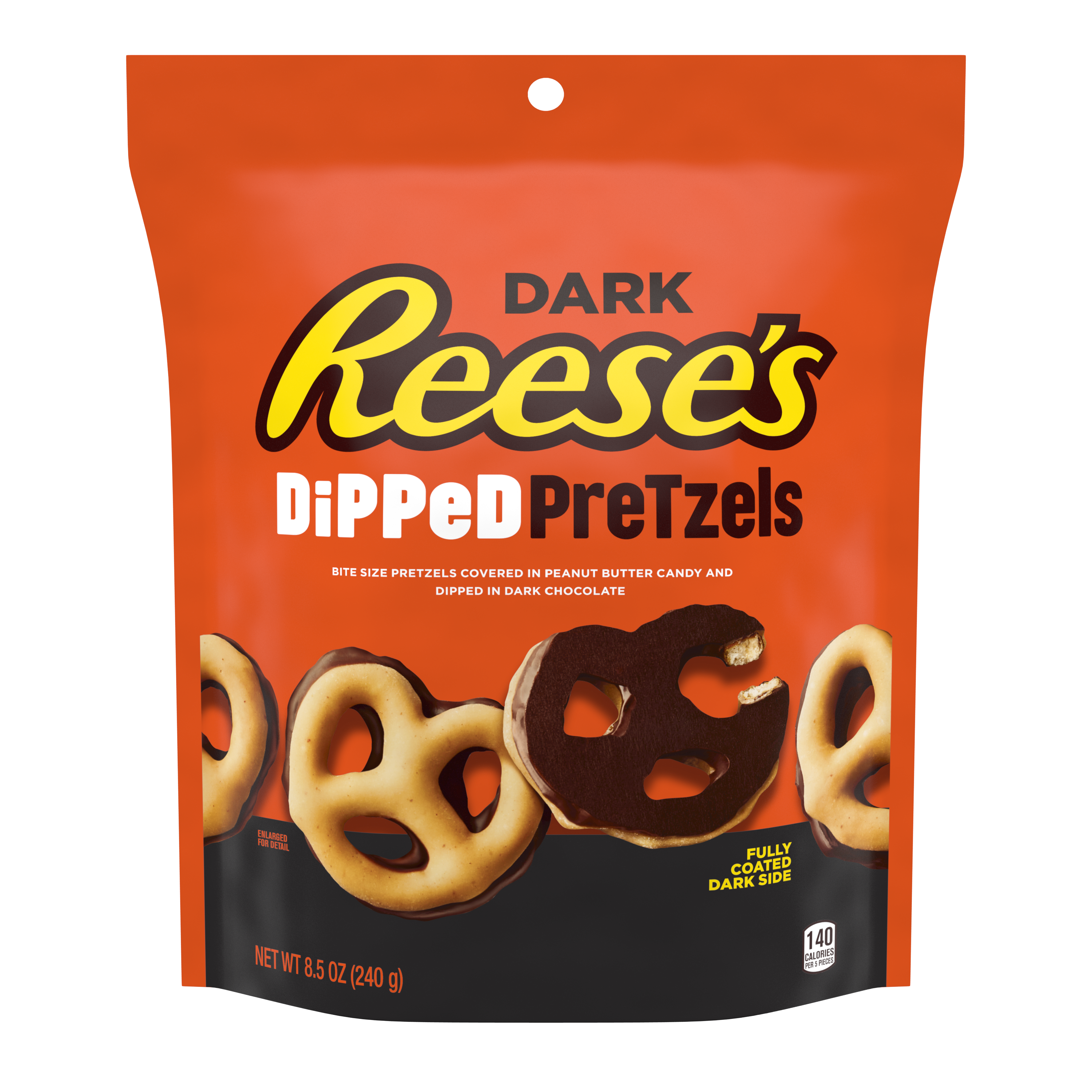 REESE'S Dipped Pretzels Dark Chocolate Snack, 8.5 oz bag - Front of Package