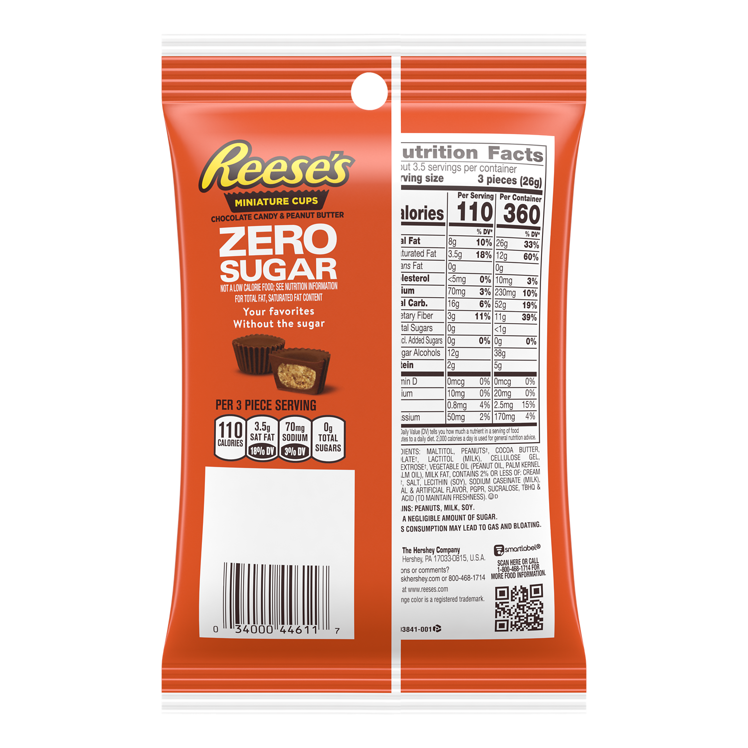 REESE'S Zero Sugar Miniatures Chocolate Candy Peanut Butter Cups, 3 oz bag - Back of Package