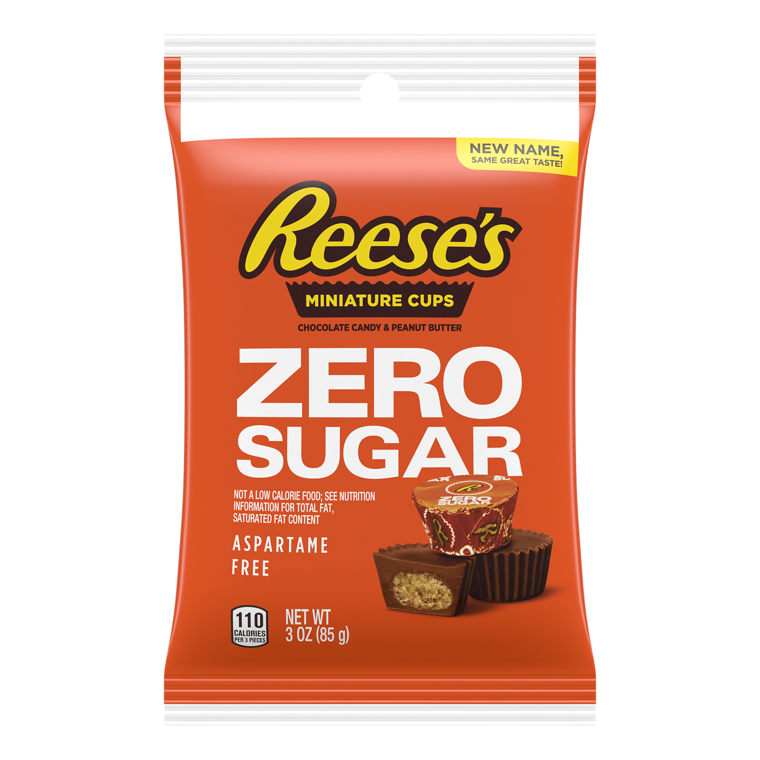REESE'S Zero Sugar Miniatures Chocolate Candy Peanut Butter Cups, 3 oz bag - Front of Package