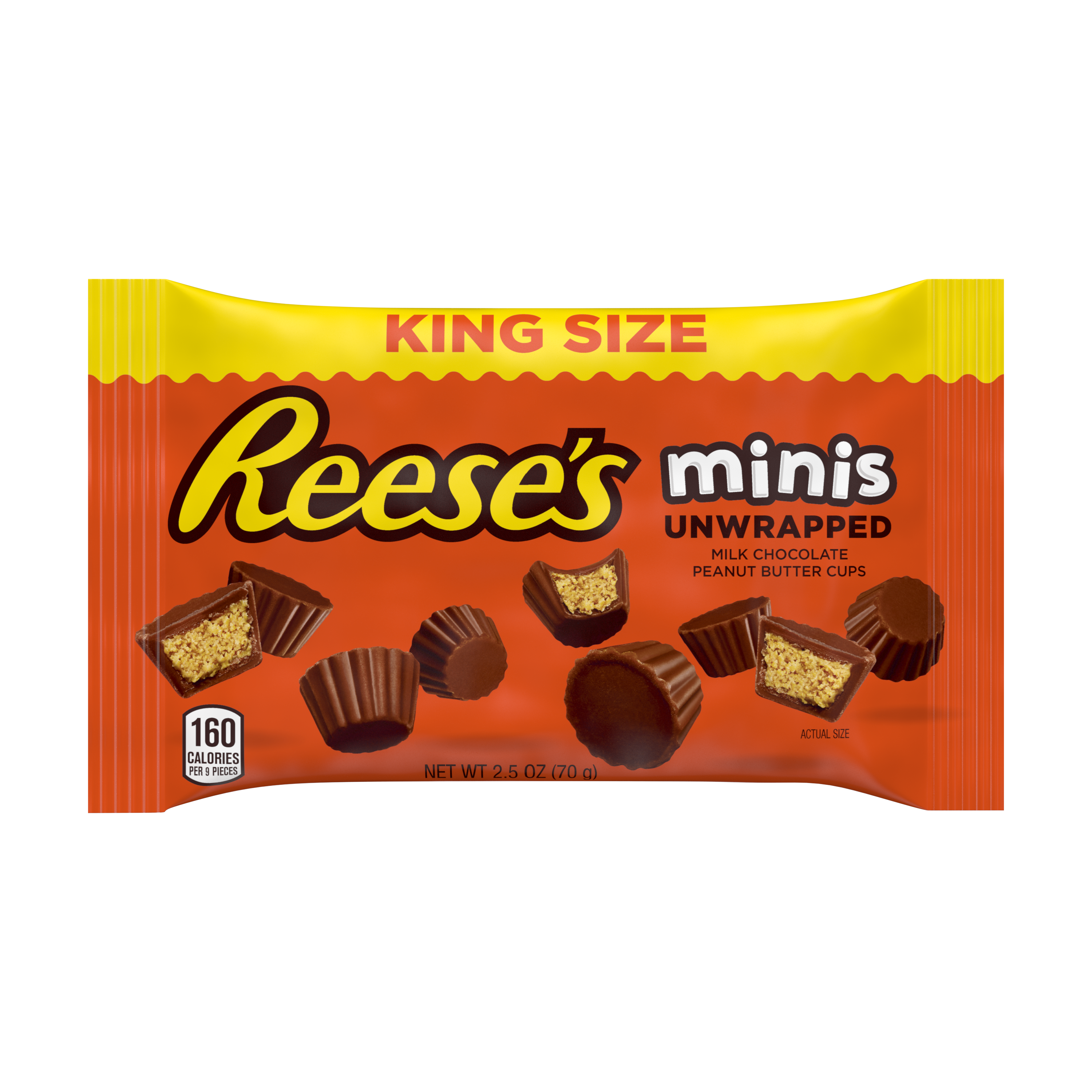 REESE'S Minis Milk Chocolate King Size Peanut Butter Cups, 2.5 oz bag - Front of Package