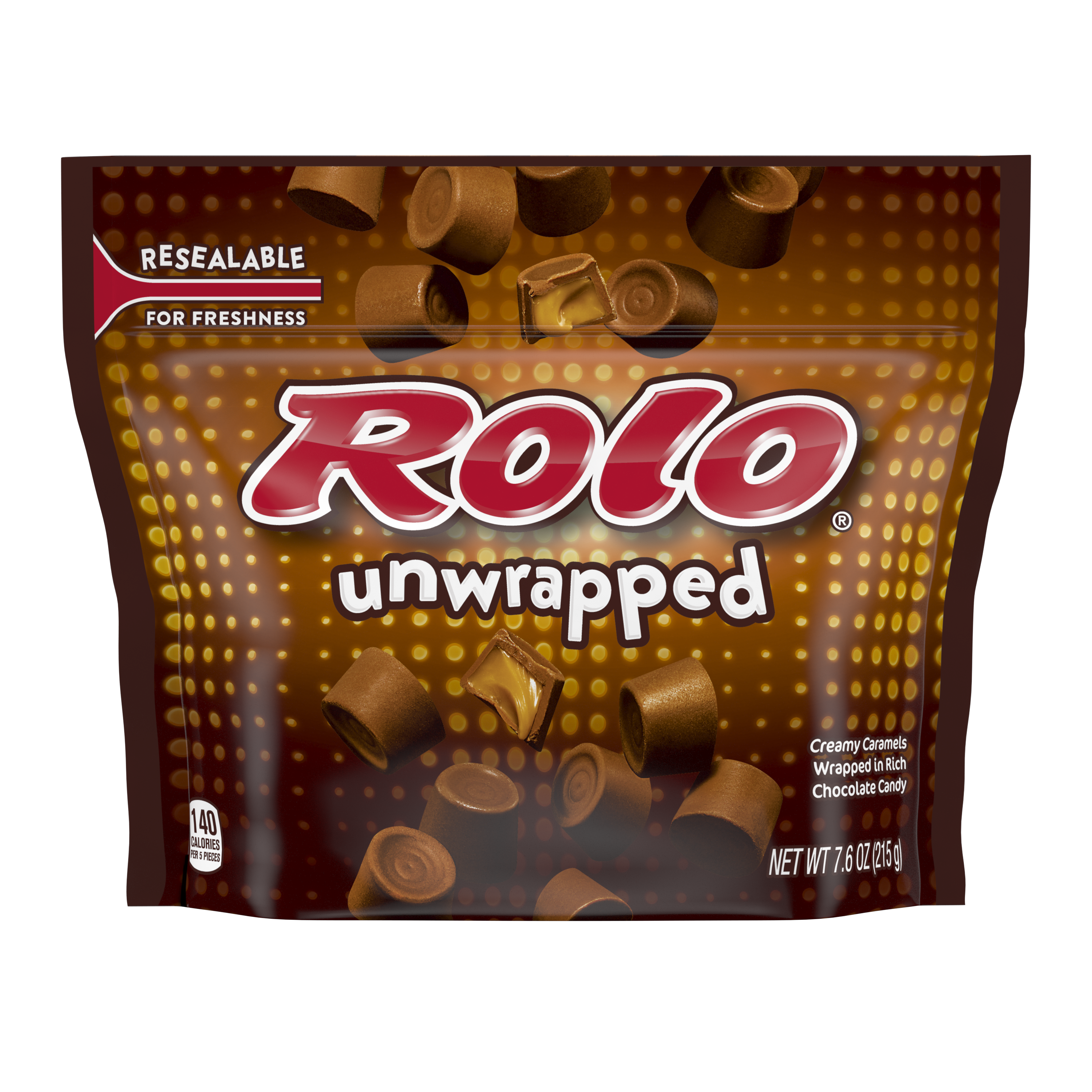 ROLO® Creamy Caramels in Rich Chocolate Candy, 7.6 oz bag - Front of Package