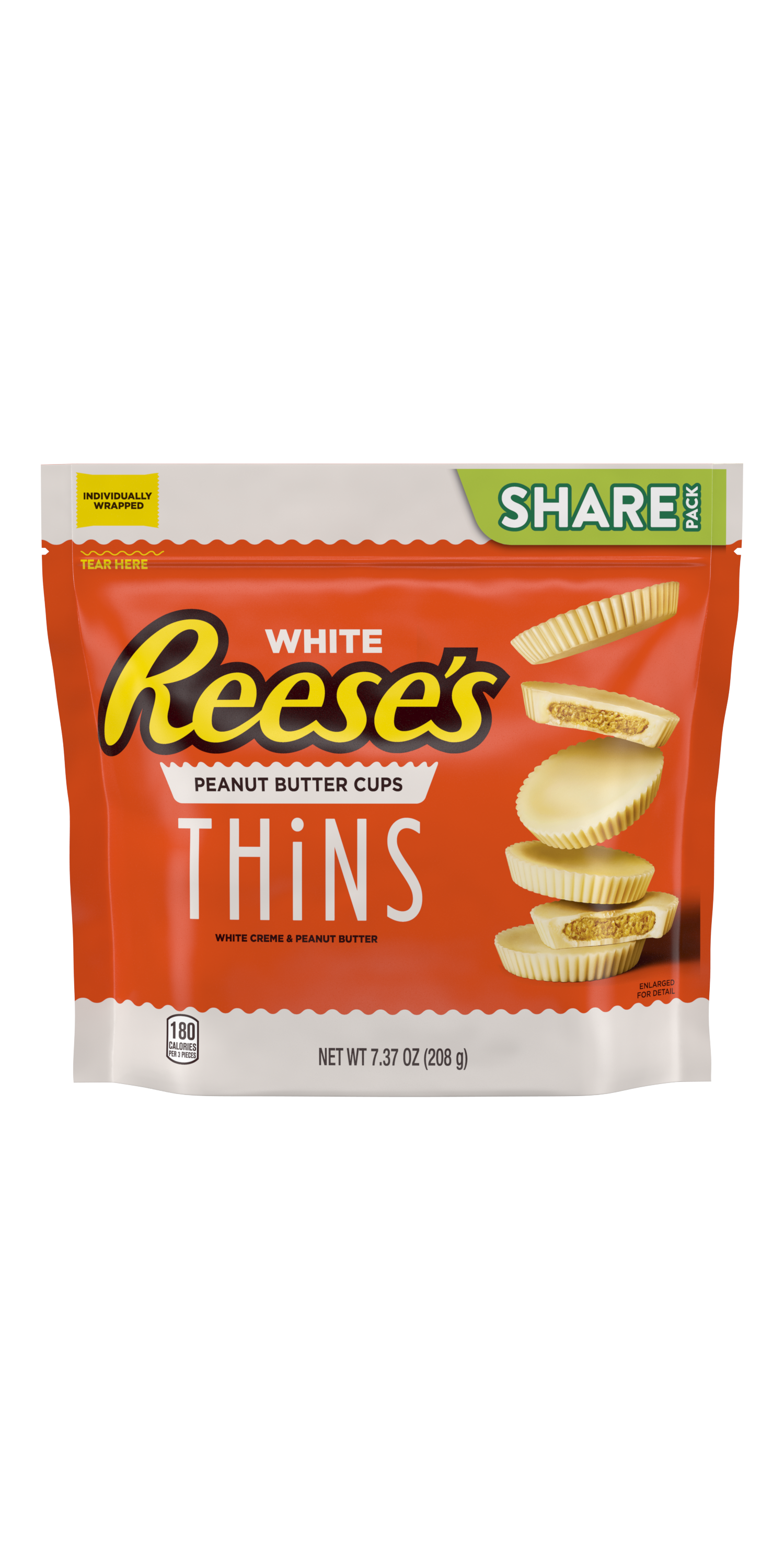 REESE'S THiNS White Creme Peanut Butter Cups, 7.37 oz pack - Front of Package
