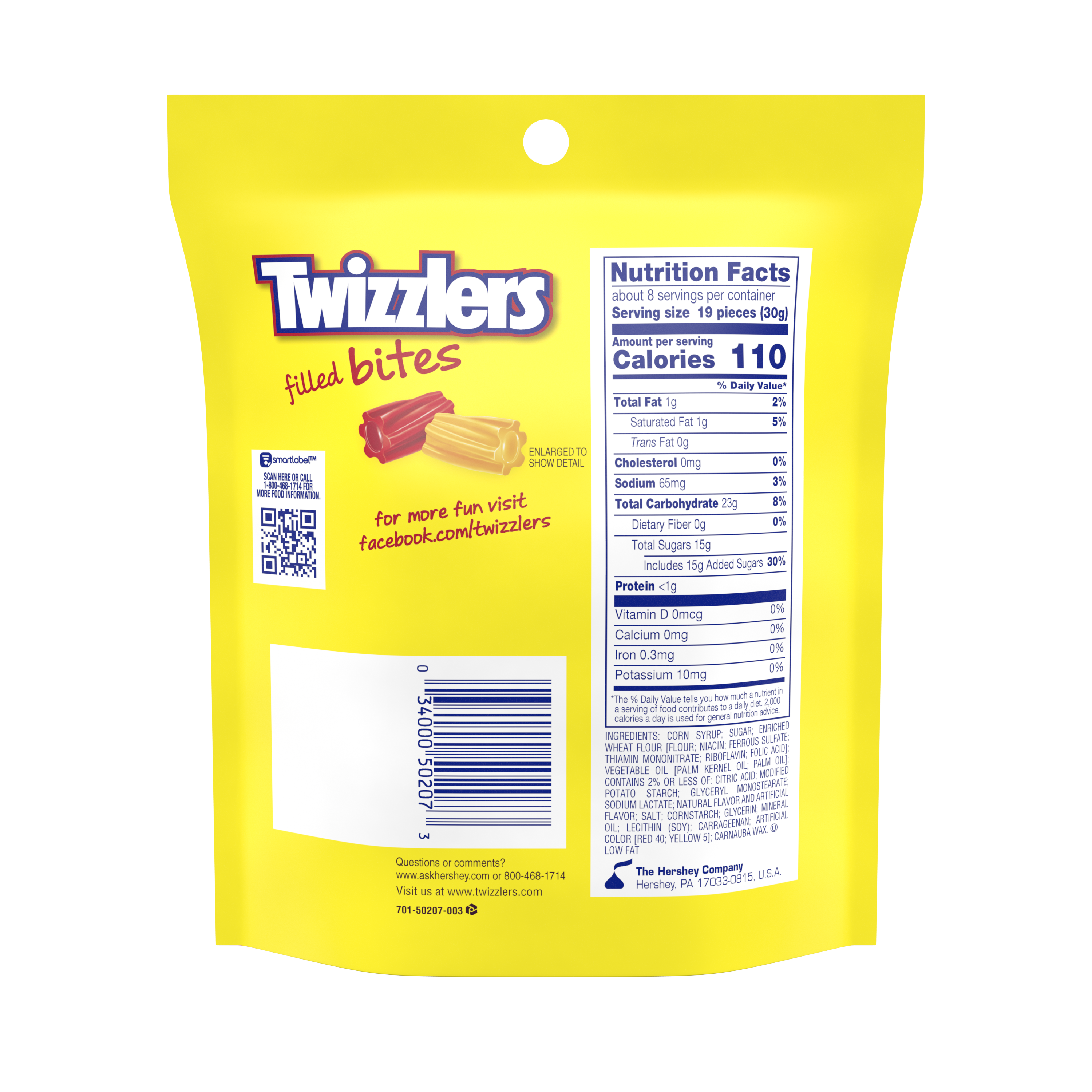 TWIZZLERS Filled Bites Sweet & Sour Cherry Kick Citrus Punch Candy, 8 oz bag - Back of Package