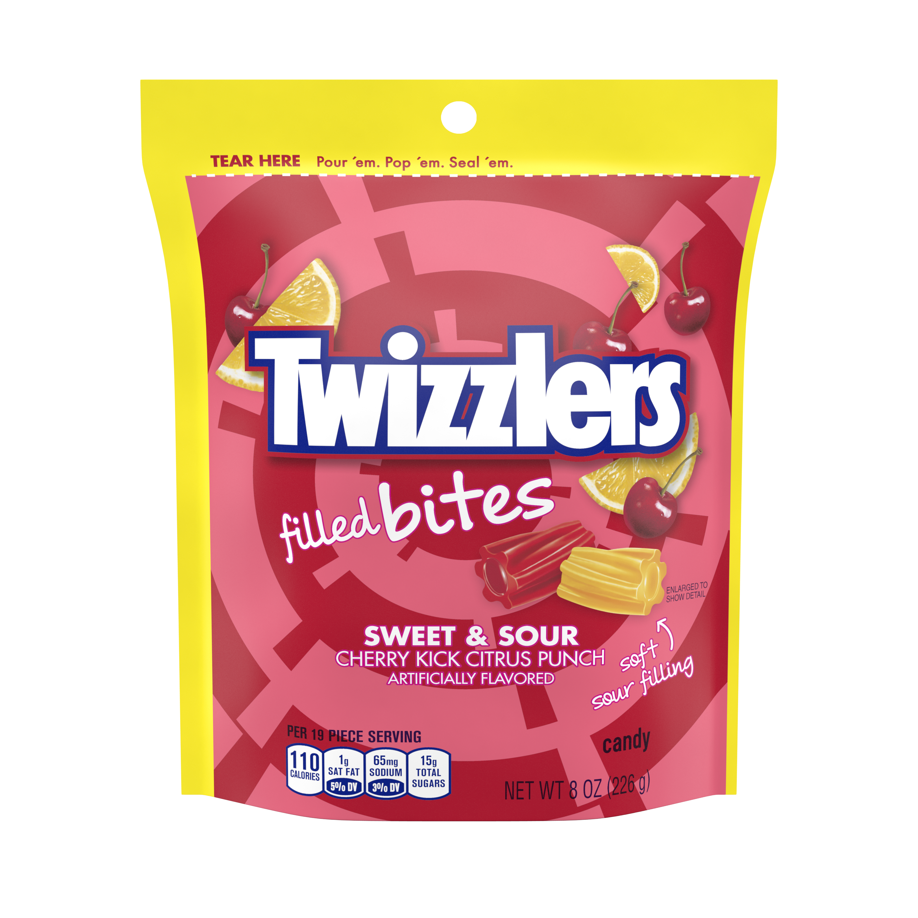 TWIZZLERS Filled Bites Sweet & Sour Cherry Kick Citrus Punch Candy, 8 oz bag - Front of Package