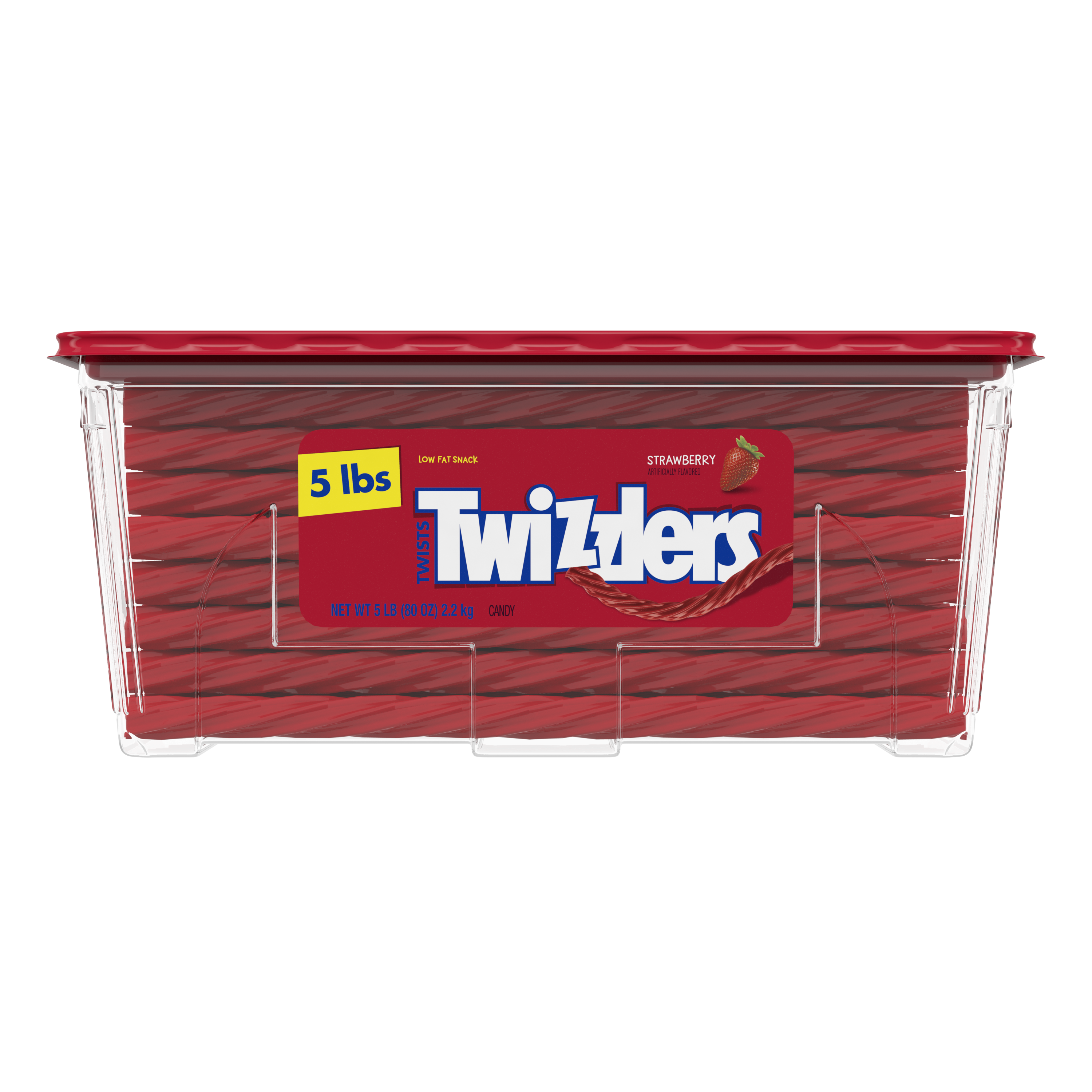 TWIZZLERS Twists Strawberry Flavored Candy, 80 oz tub - Front of Package