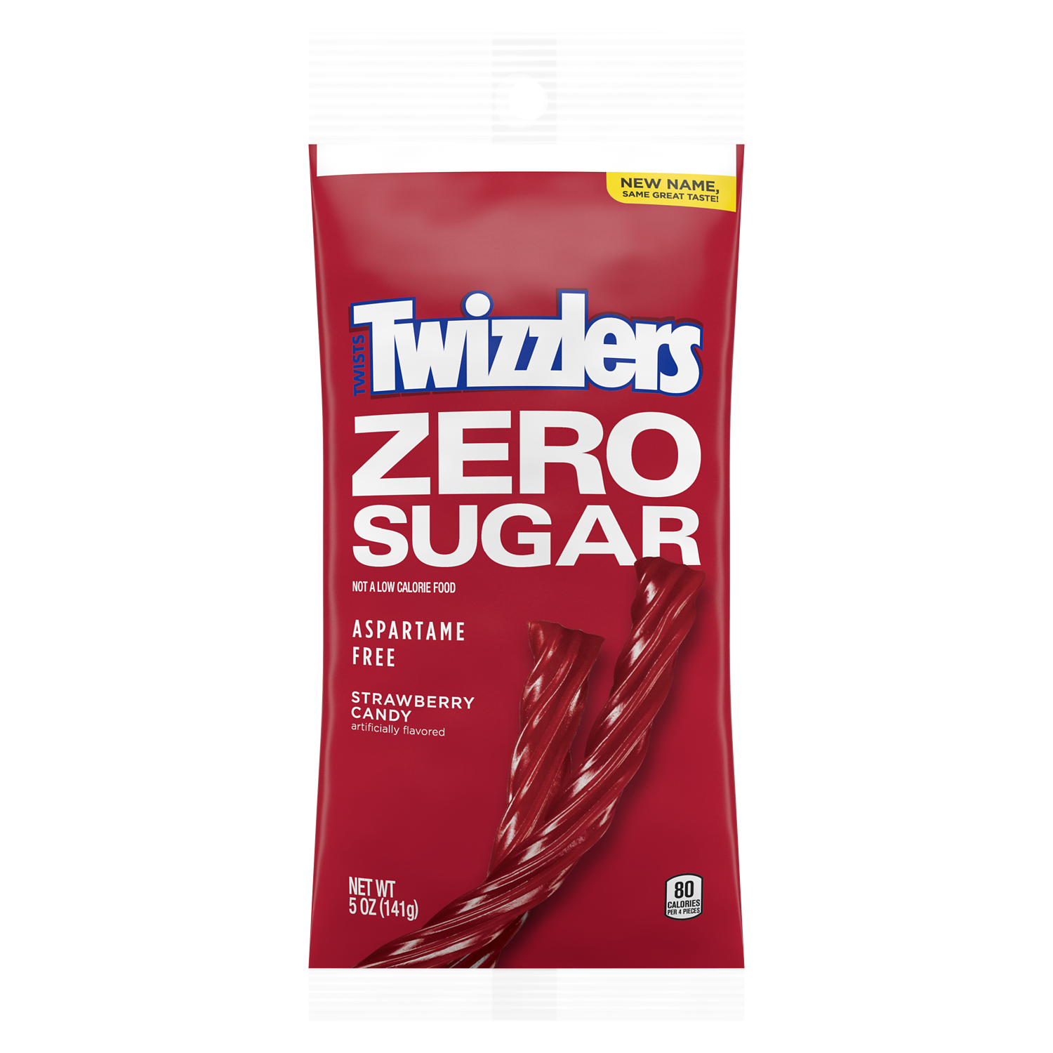 TWIZZLERS Zero Sugar Strawberry Flavored Twists, 5 oz bag - Front of Package