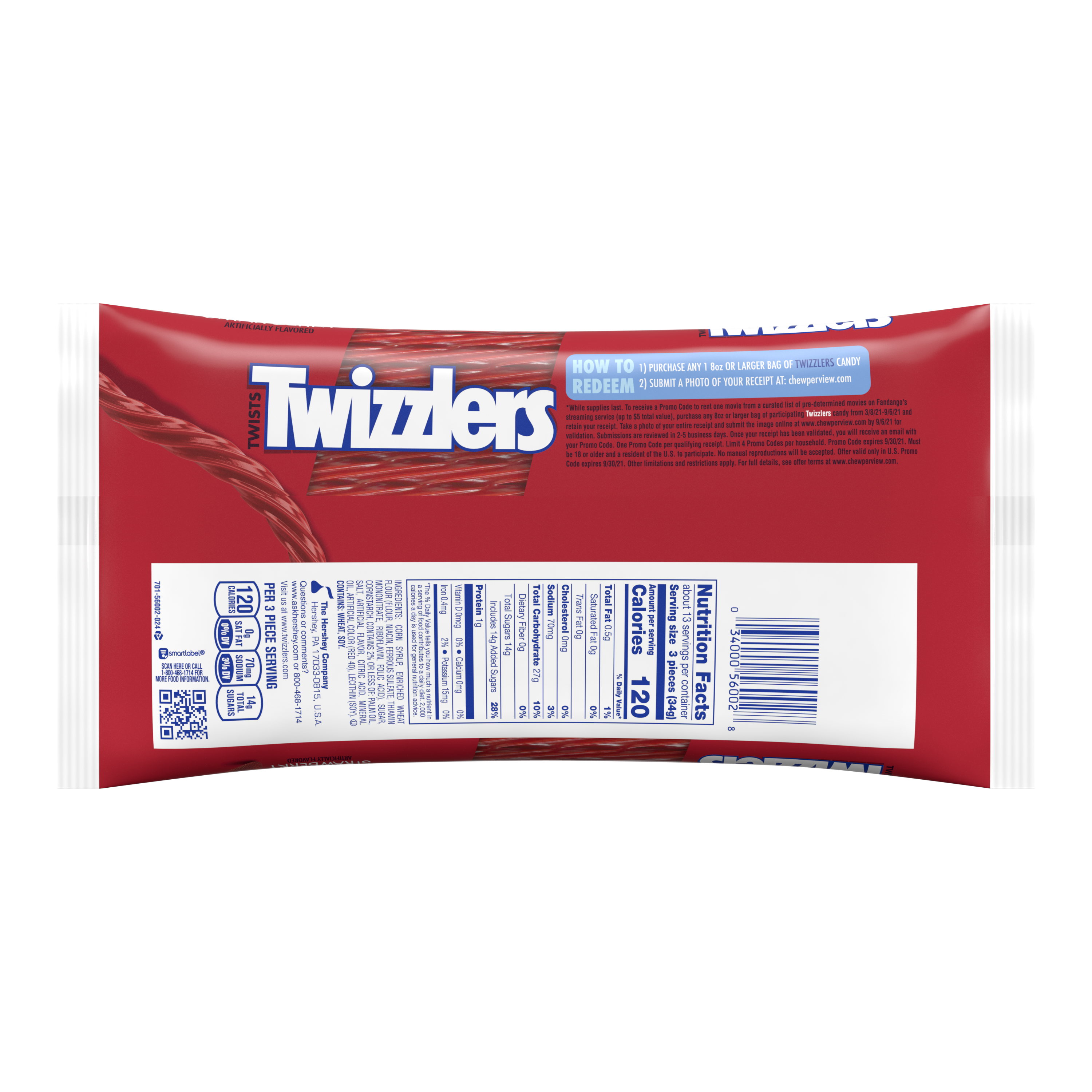TWIZZLERS Twists Strawberry Flavored Candy, 16 oz bag - Back of Package