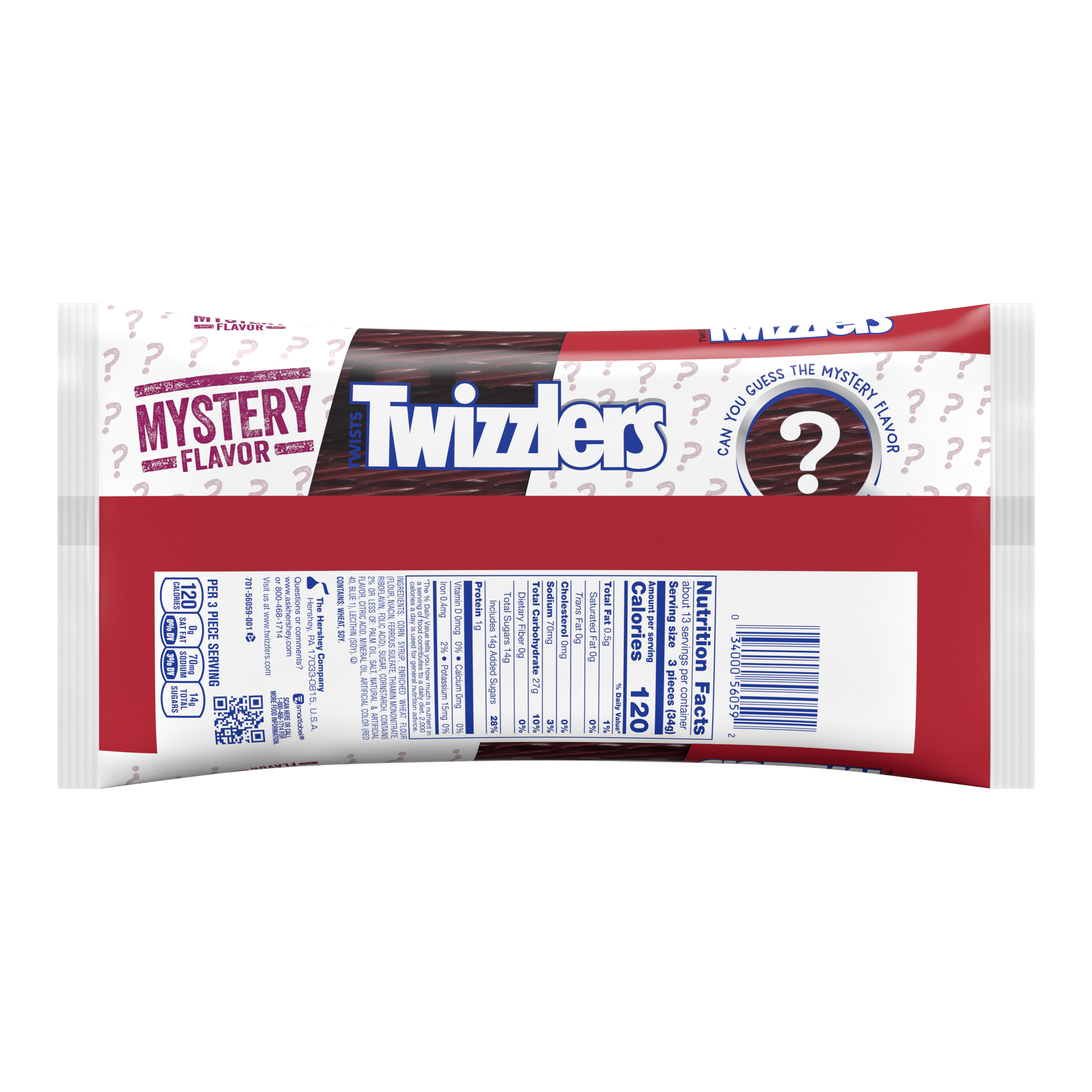 TWIZZLERS Twists Mystery Flavor Candy, 16 oz bag - Back of Package
