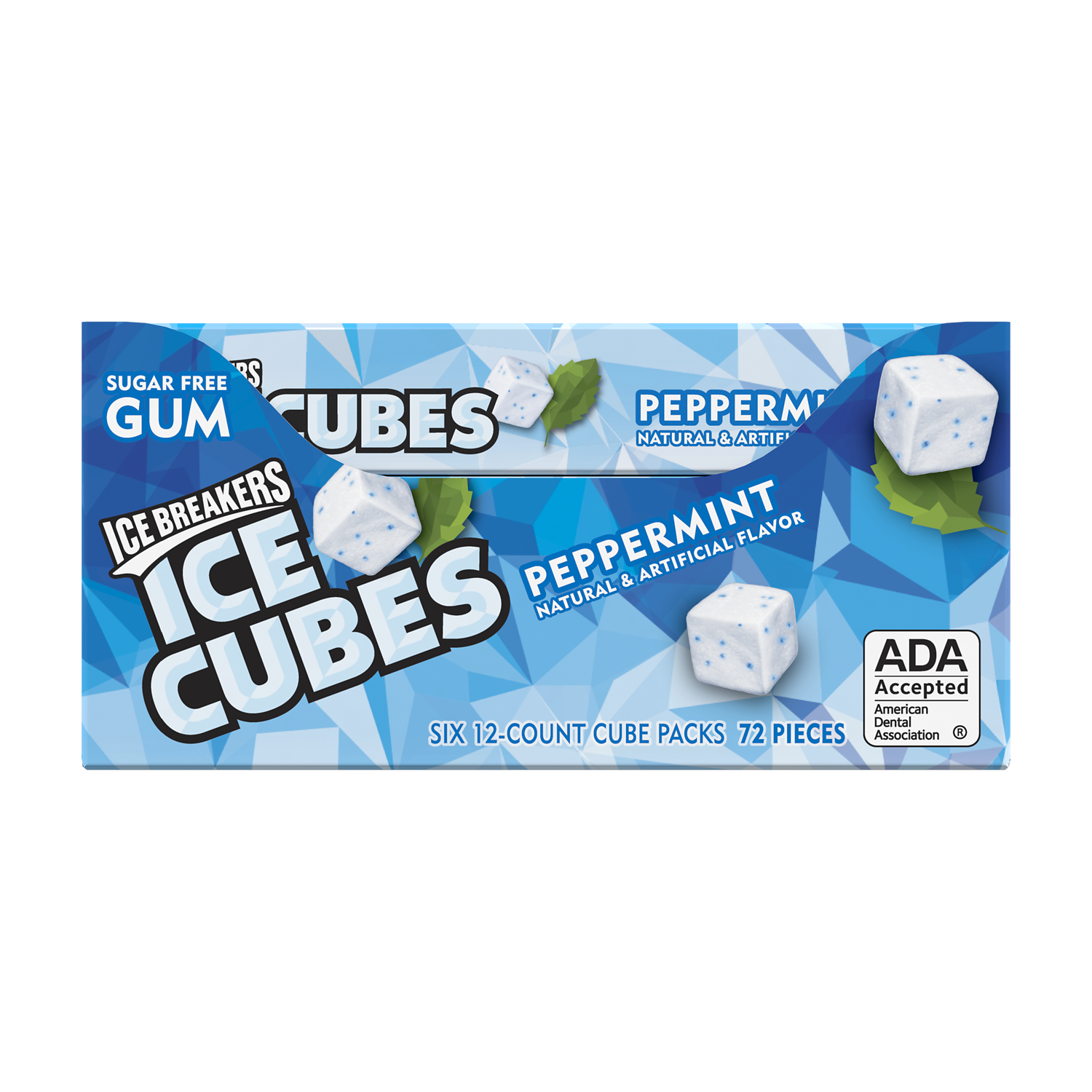 ICE BREAKERS ICE CUBES Peppermint Sugar Free Gum, 0.976 oz box, 12 count - Front of Package