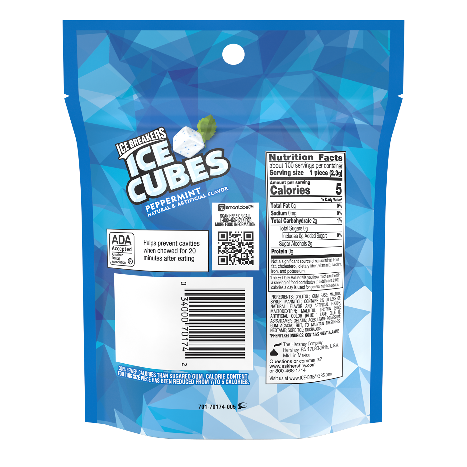 ICE BREAKERS ICE CUBES Peppermint Sugar Free Gum, 8.11 oz bag, 100 pieces - Back of Package