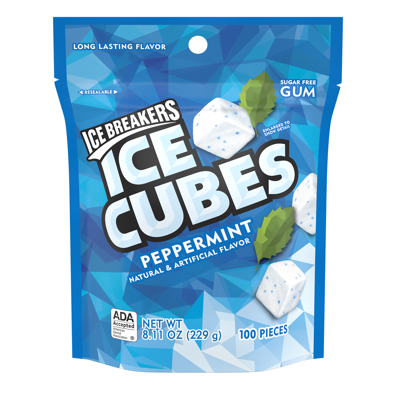 ICE BREAKERS ICE CUBES Peppermint Sugar Free Gum, 8.11 oz bag, 100 pieces - Front of Package