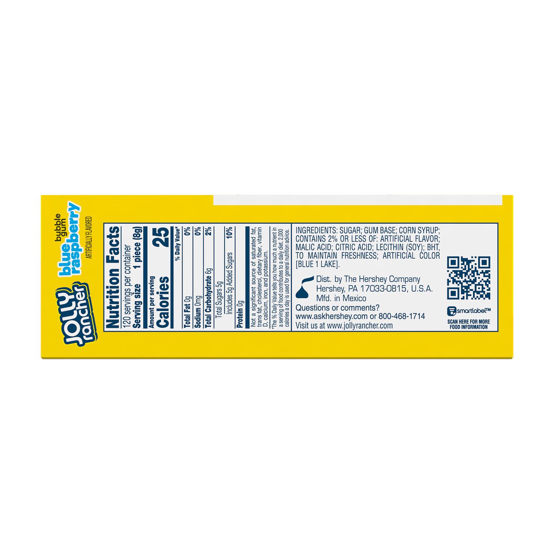 BUBBLE YUM JOLLY RANCHER Blue Raspberry Flavor Bubble Gum, 2.8 oz box, 12 pack - Back of Package