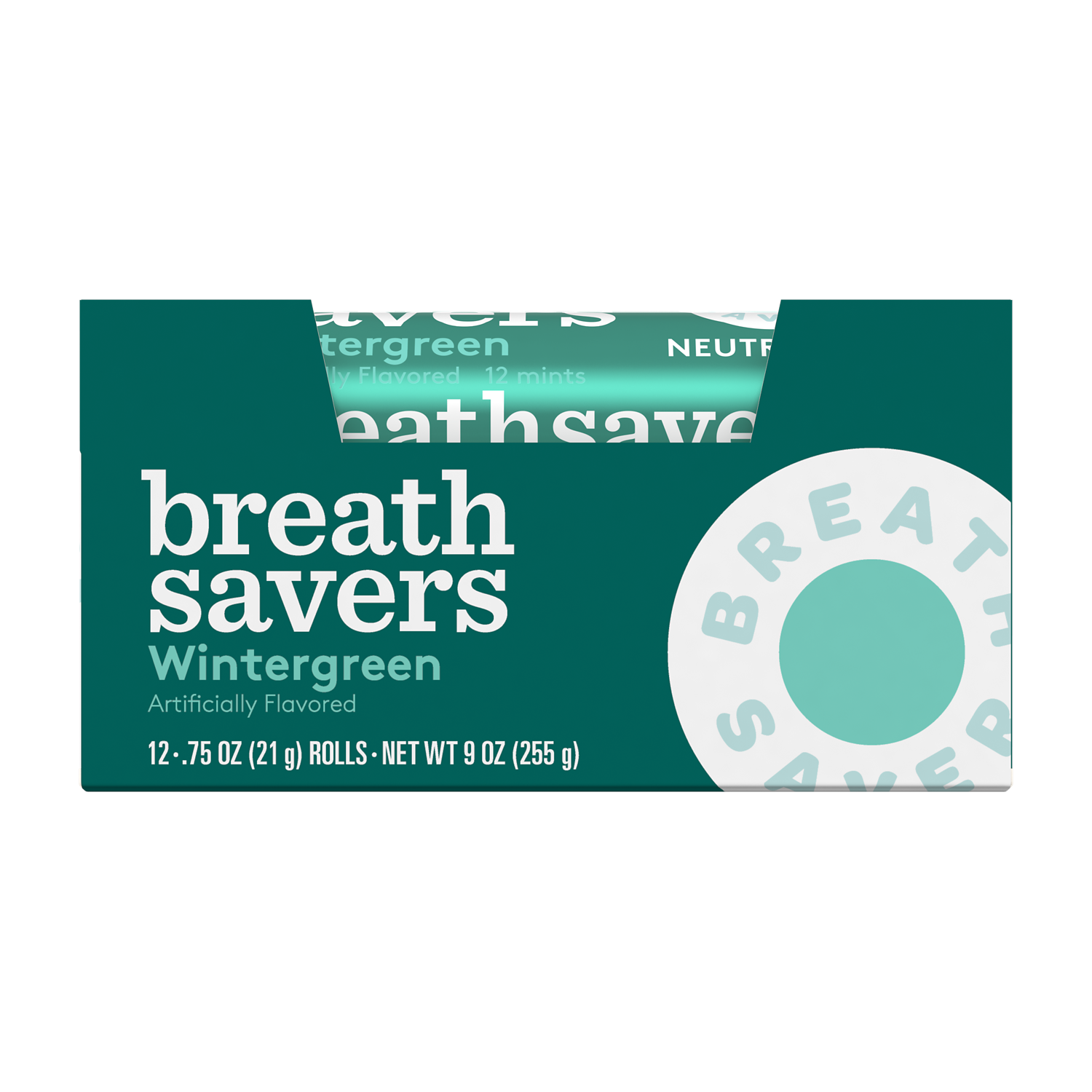 BREATH SAVERS Wintergreen Sugar Free Mints, 9 oz box, 12 pack - Front of Package