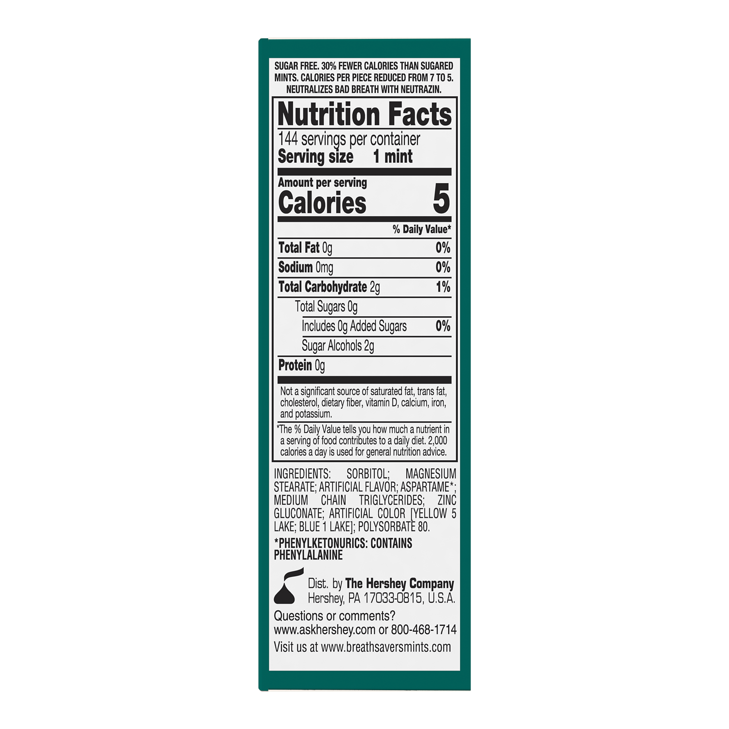 BREATH SAVERS Wintergreen Sugar Free Mints, 9 oz box, 12 pack - Back of Package