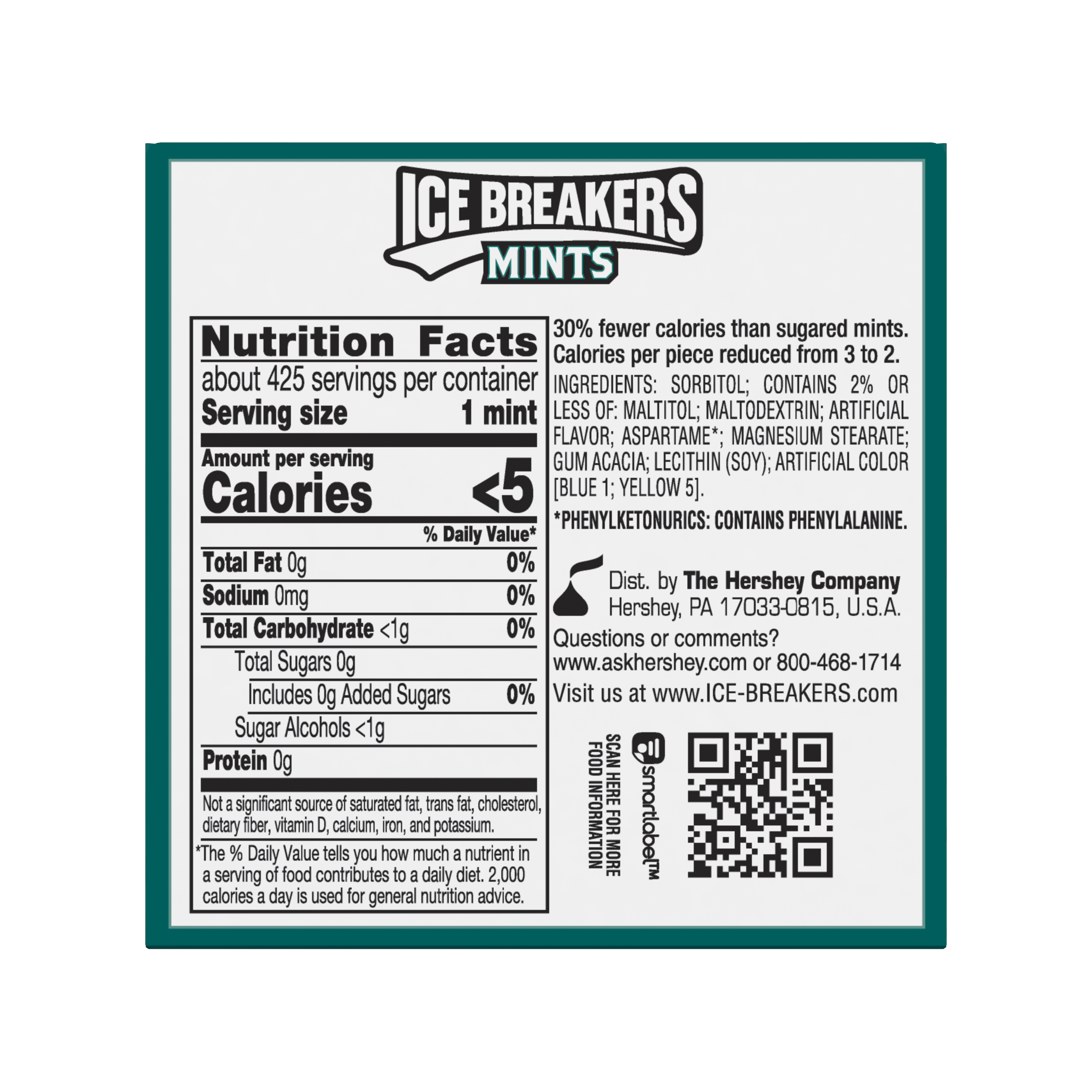 ICE BREAKERS Wintergreen Sugar Free Mints, 12 oz box, 8 pack - Back of Package