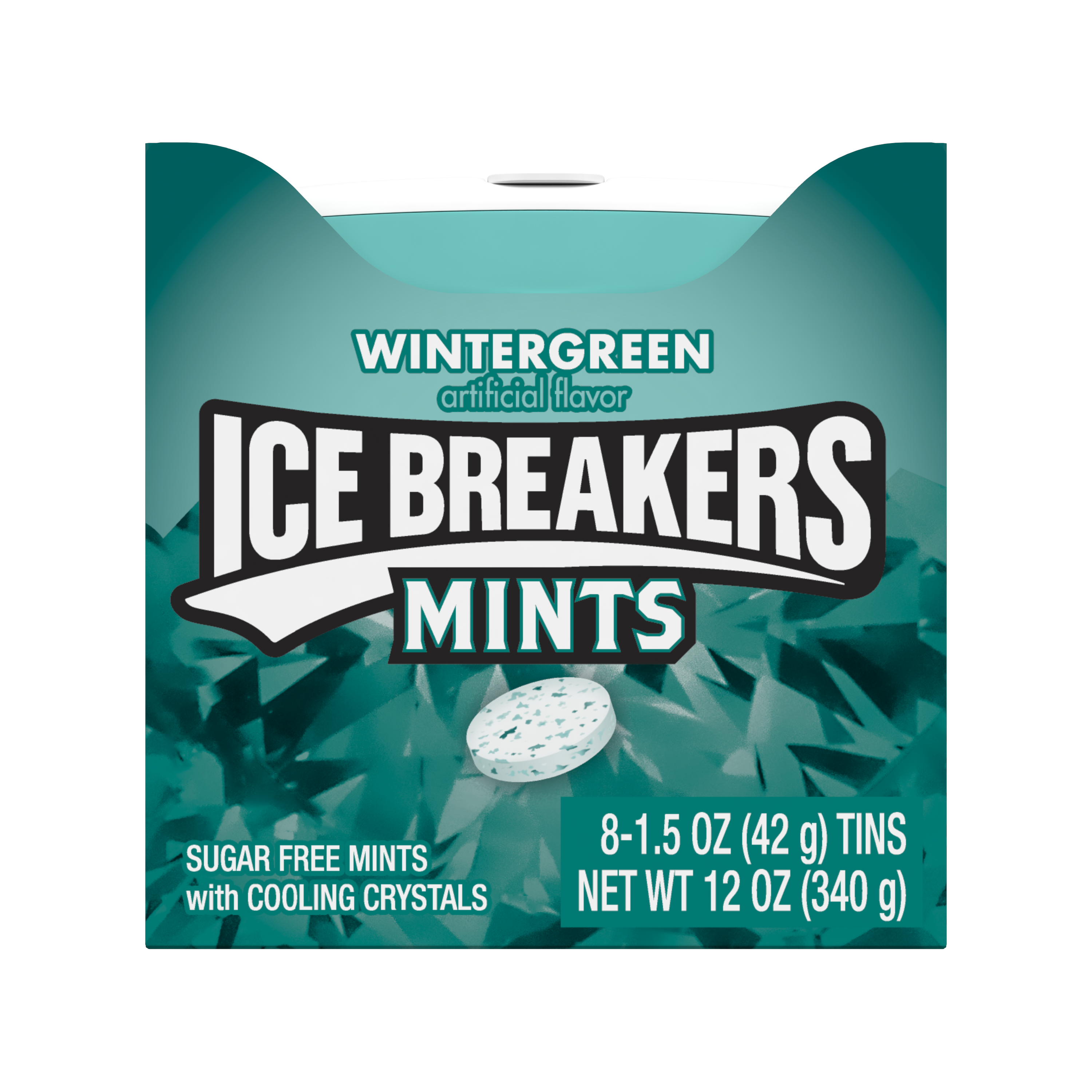 ICE BREAKERS Wintergreen Sugar Free Mints, 12 oz box, 8 pack - Front of Package