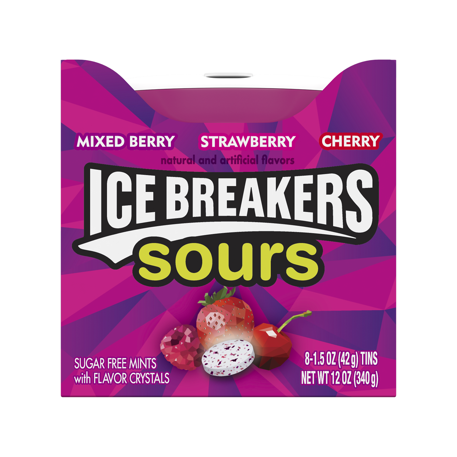 ICE BREAKERS Sours Mixed Berry Sugar Free Mints, 12 oz box, 8 pack - Front of Package
