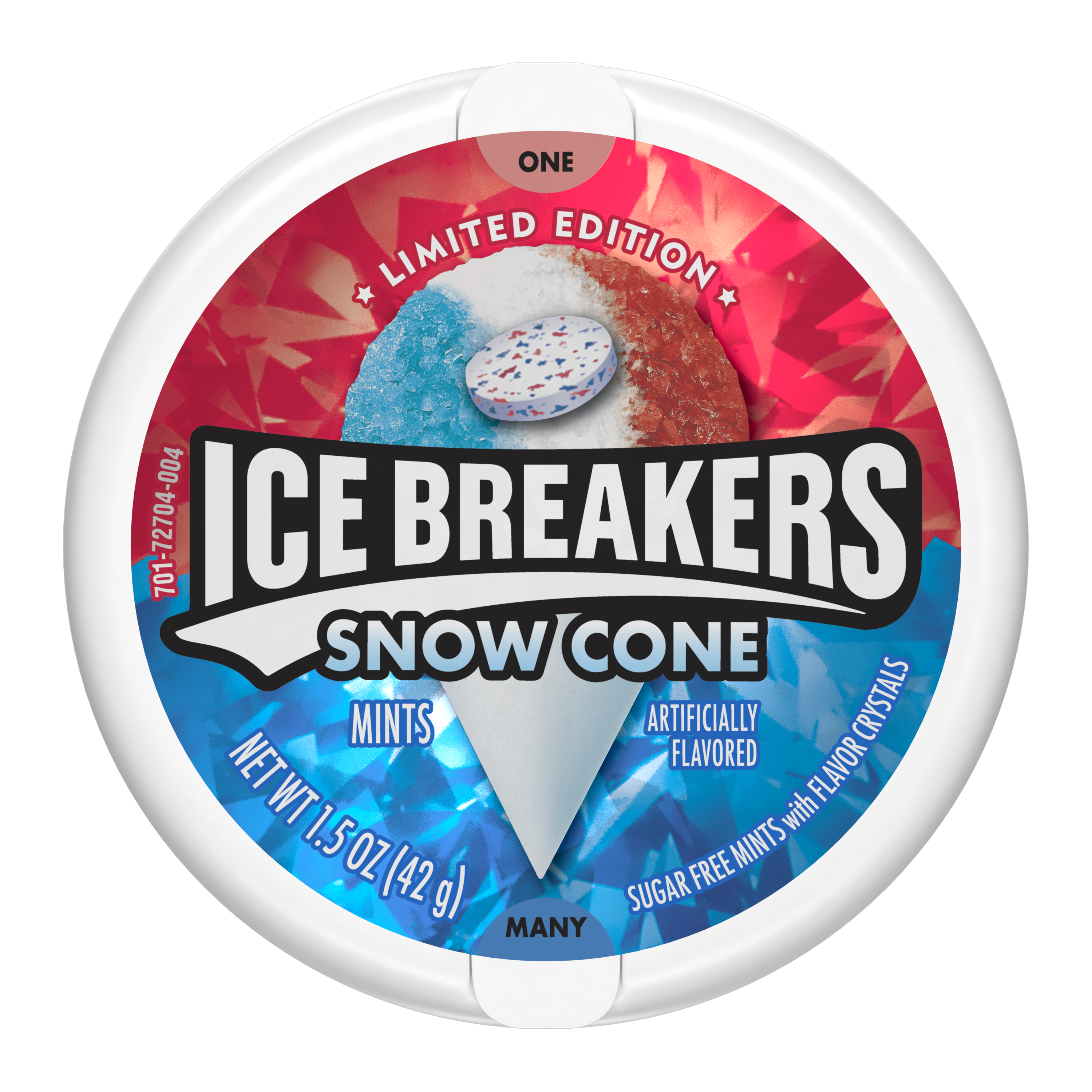ICE BREAKERS Snow Cone Sugar Free Mints, 1.5 oz puck - Front of Package
