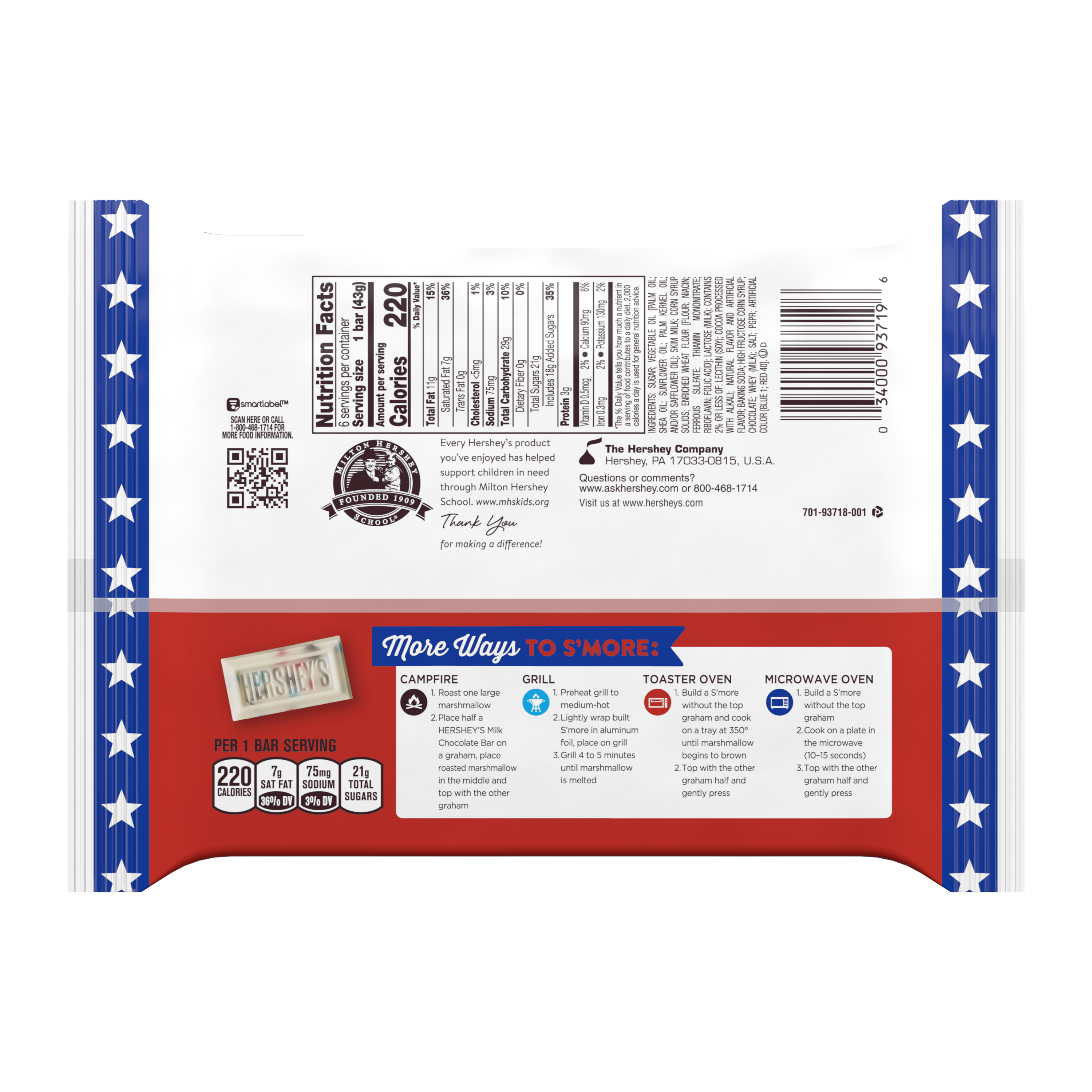 HERSHEY'S COOKIES 'N' CREME Red, White & Blue Candy Bars, 1.55 oz, 6 pack - Back of Package