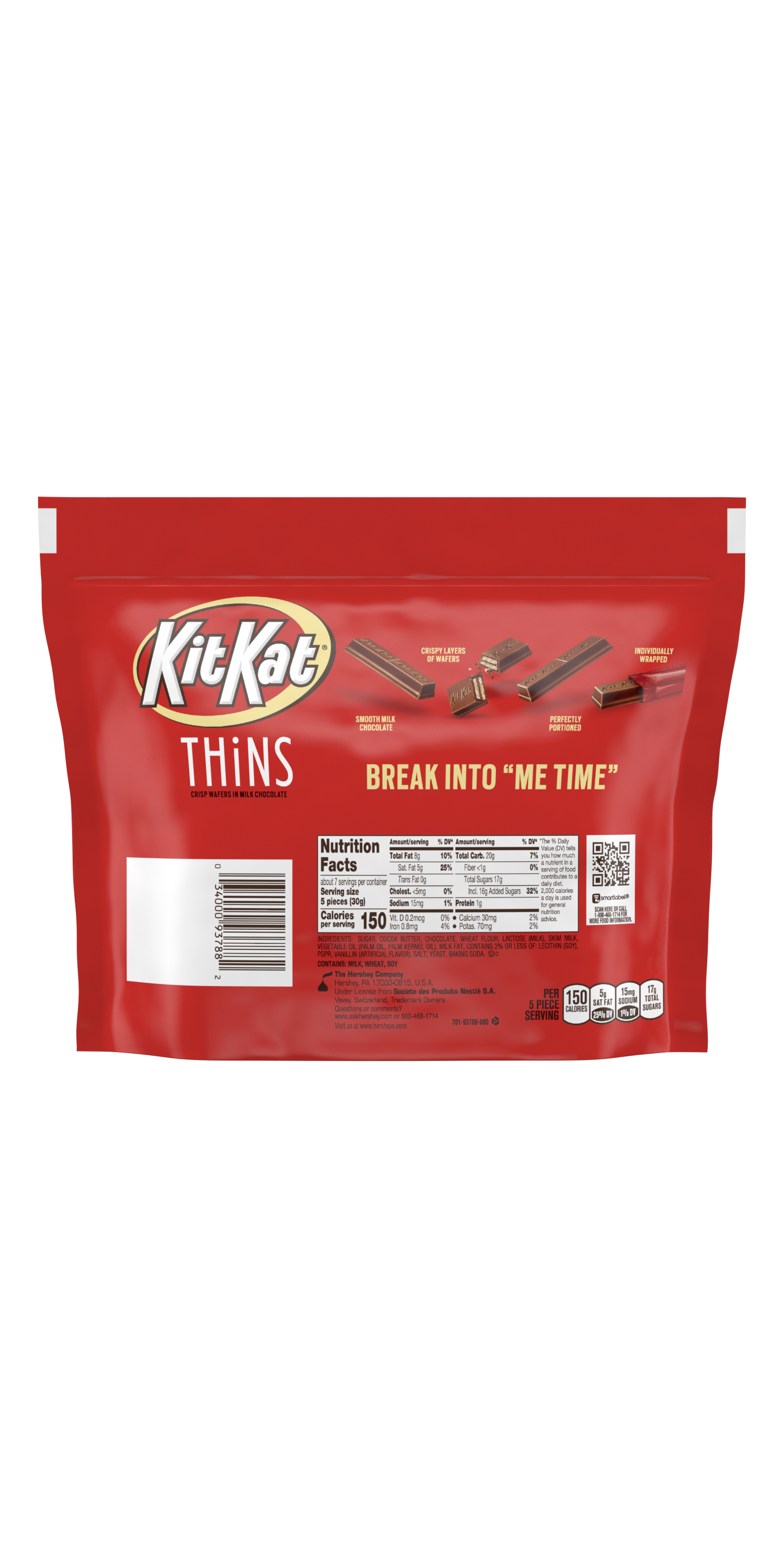 KIT KAT® THiNS Milk Chocolate Candy Bars, 7.37 oz pack - Back of Package