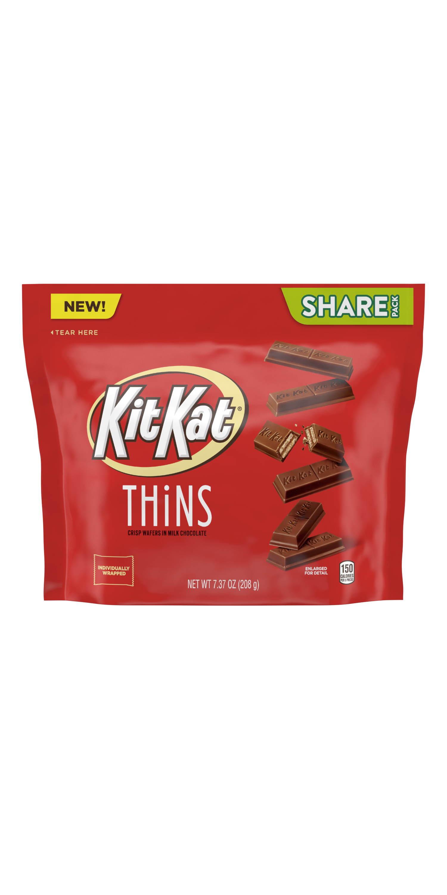 KIT KAT® THiNS Milk Chocolate Candy Bars, 7.37 oz pack - Front of Package