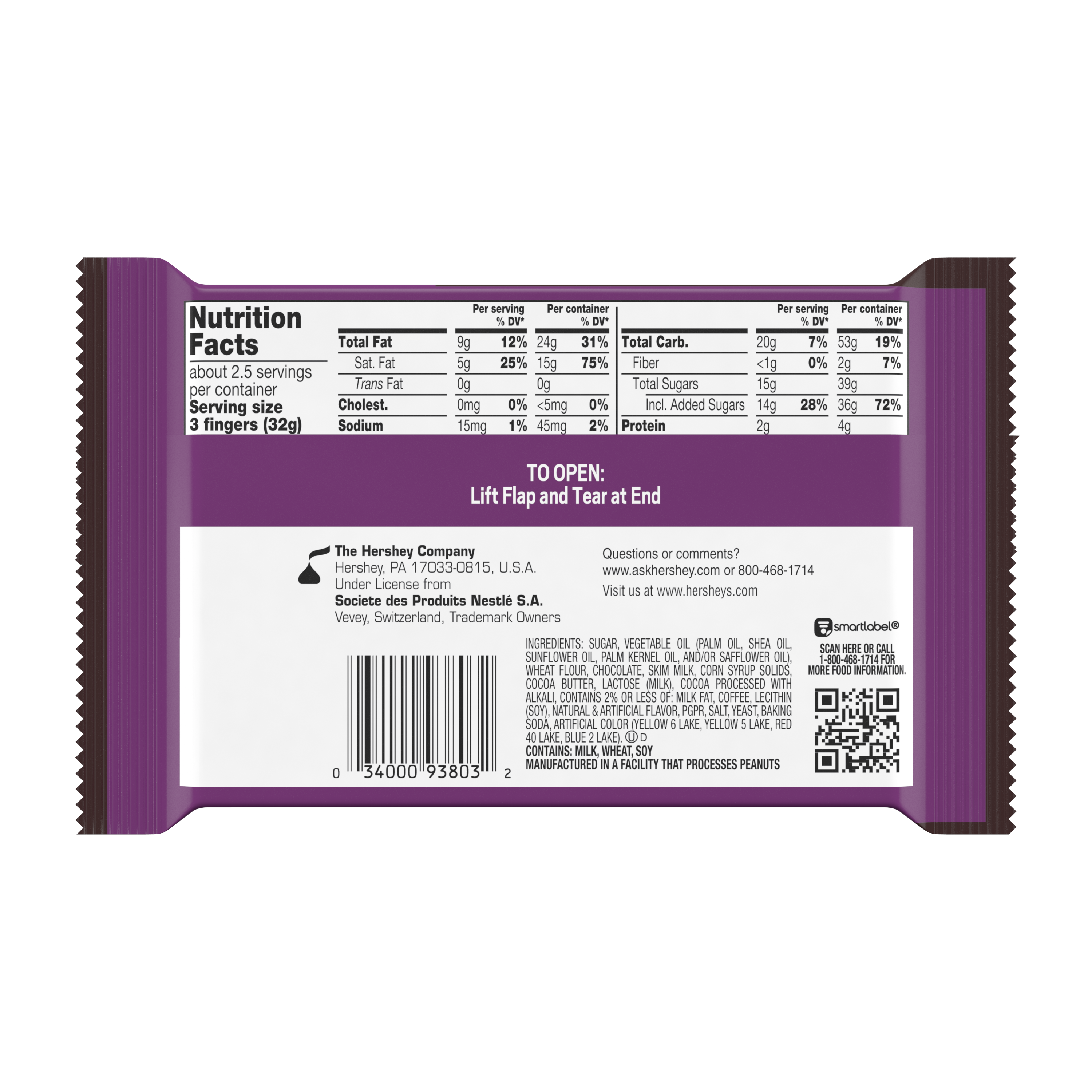 KIT KAT® DUOS Mocha and Chocolate King Size Candy Bar, 3 oz - Back of Package