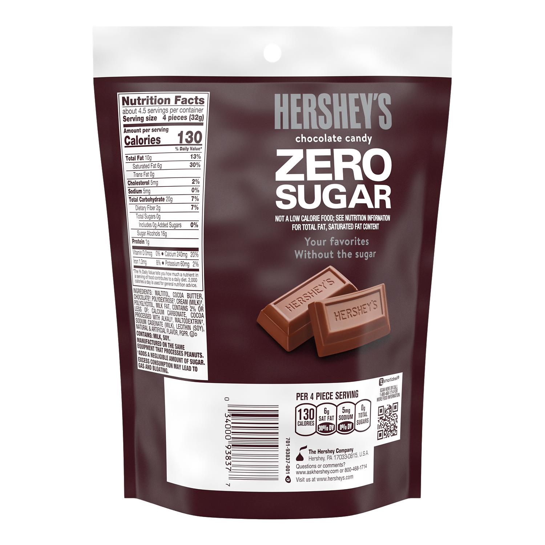 HERSHEY'S Zero Sugar Chocolate Candy Bars, 5.1 oz bag - Back of Package