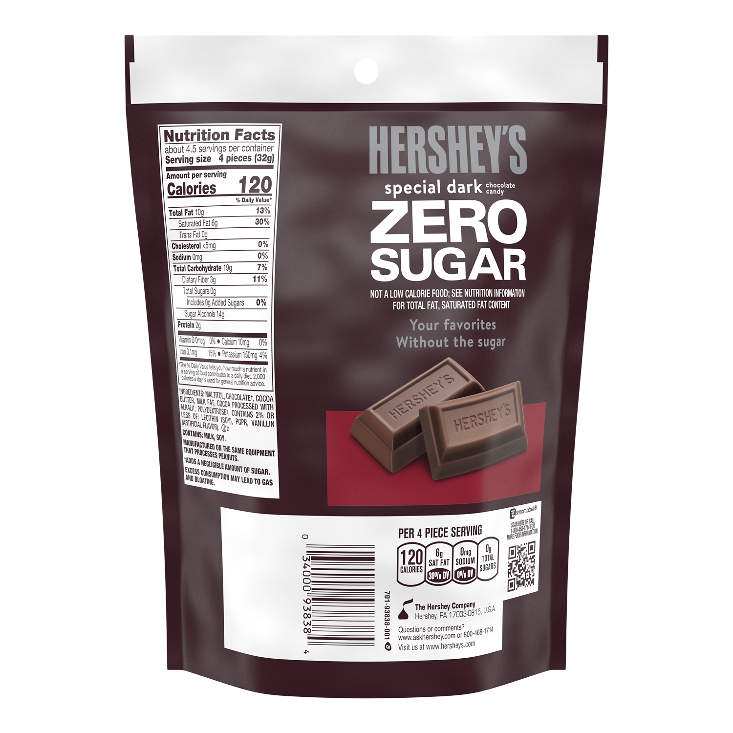HERSHEY'S SPECIAL DARK Zero Sugar Chocolate Candy Bars, 5.1 oz bag - Back of Package