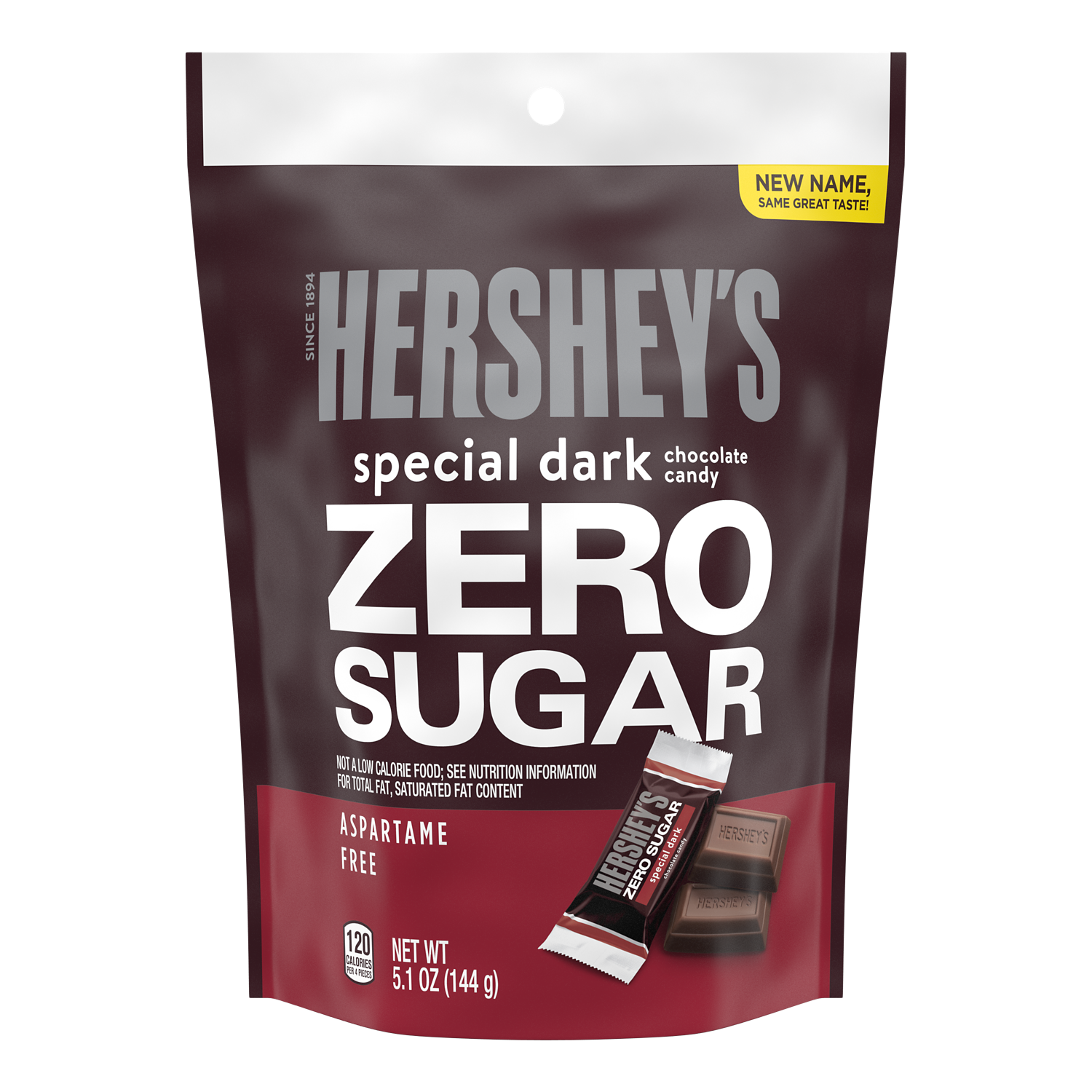 HERSHEY'S SPECIAL DARK Zero Sugar Chocolate Candy Bars, 5.1 oz bag - Front of Package